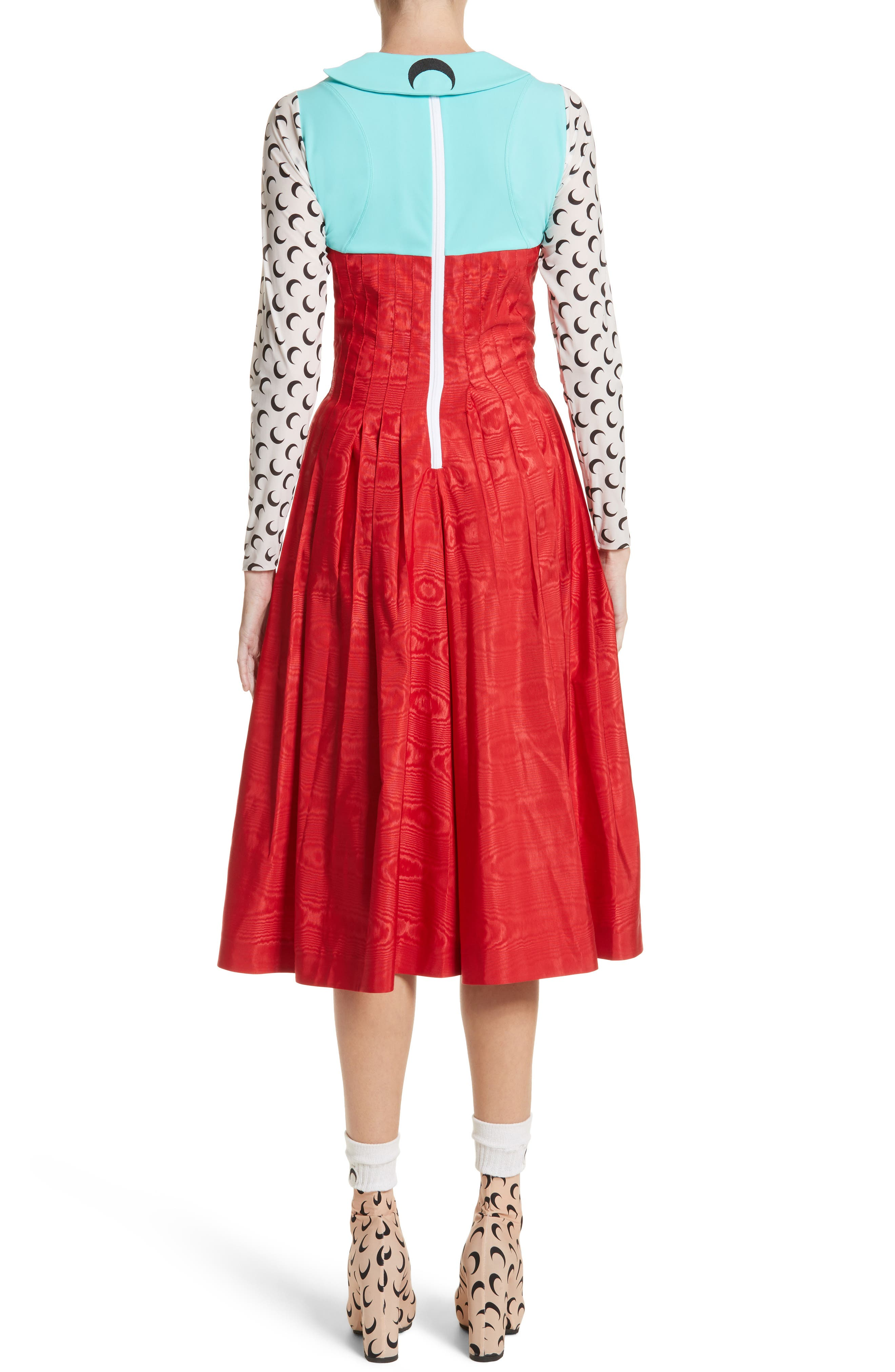 Hybrid Moiré Dress,                             Alternate thumbnail 2, color,                             Turquoise/ Red