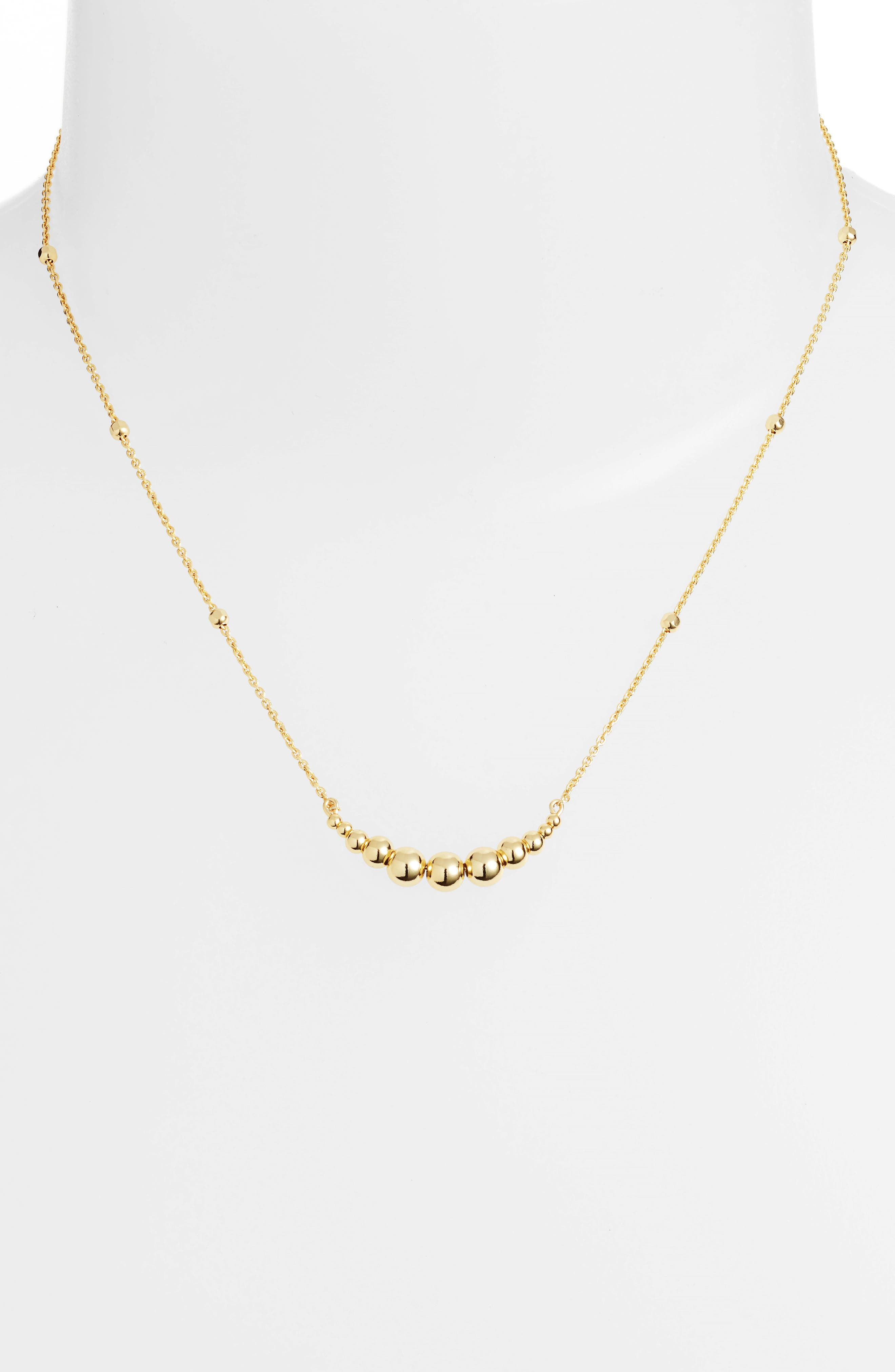 Graduated Sphere Pendant Necklace,                             Alternate thumbnail 2, color,                             Gold