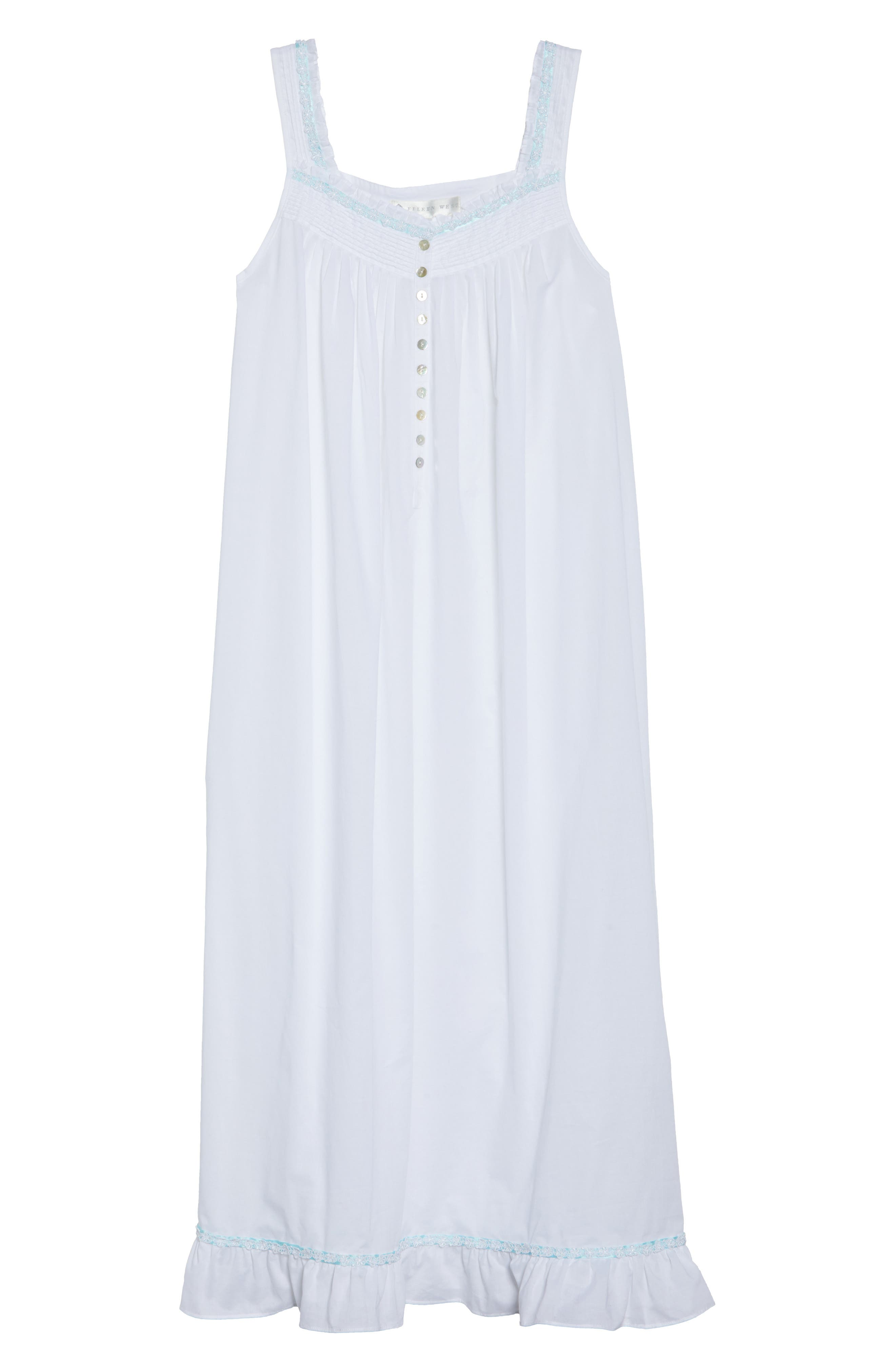 Cotton Lawn Ballet Nightgown,                             Alternate thumbnail 4, color,                             Solid White