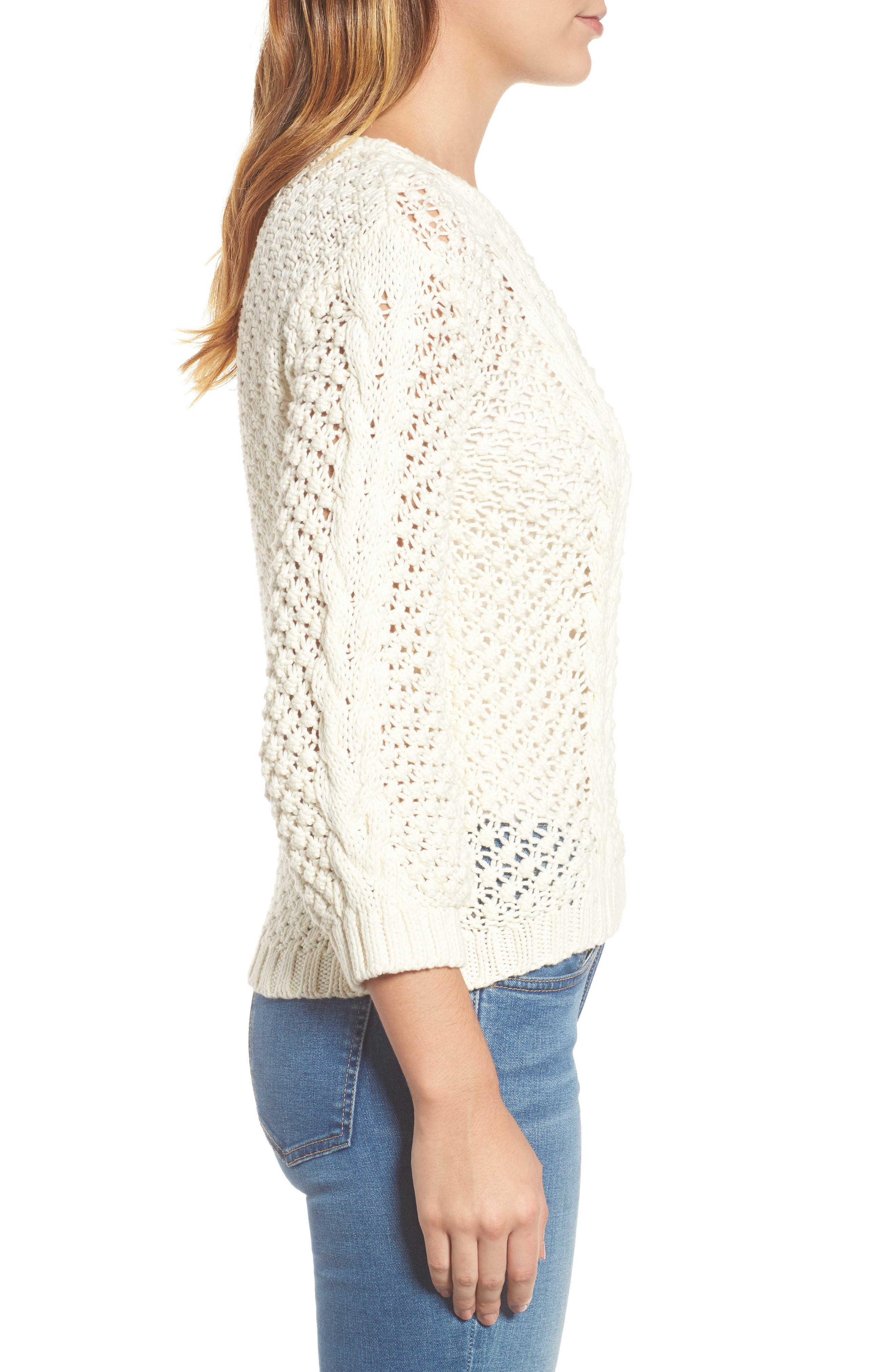 Popcorn Cable Sweater,                             Alternate thumbnail 3, color,                             Milk White
