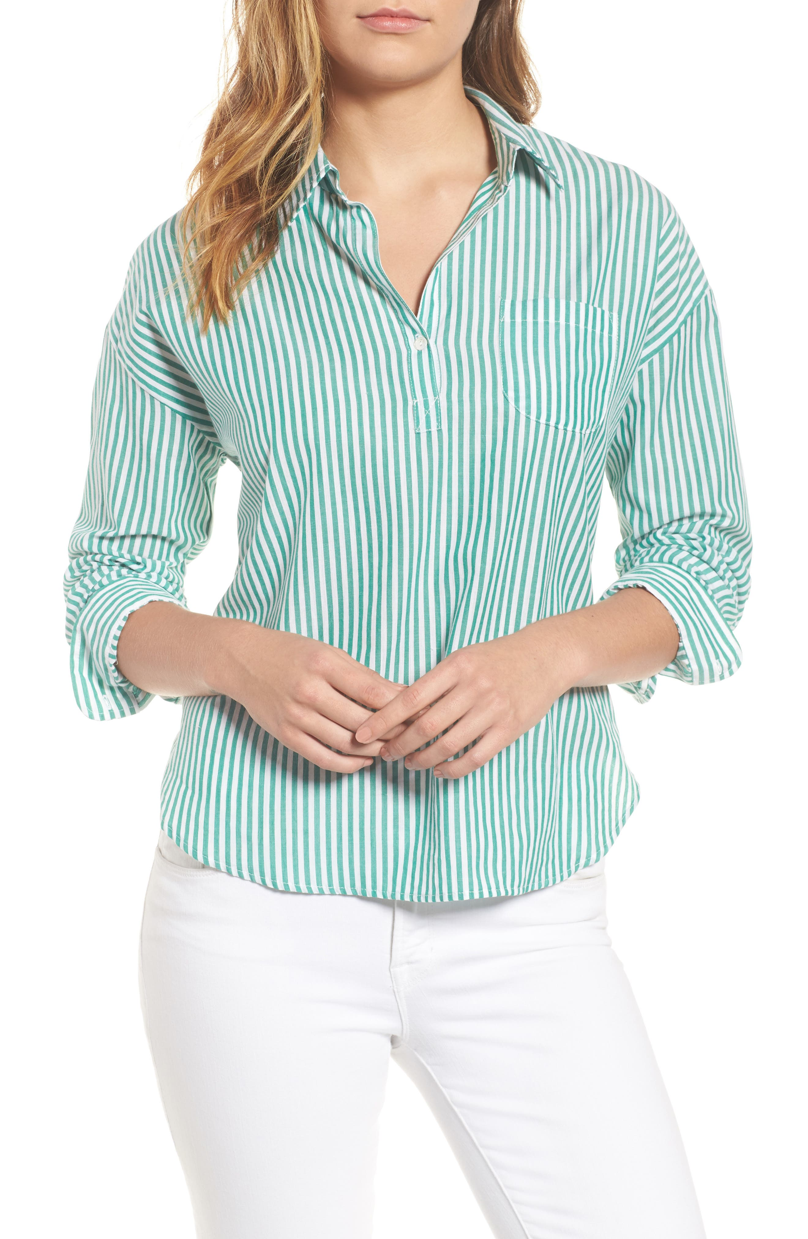 Popover Stripe Cotton Shirt,                         Main,                         color, Green