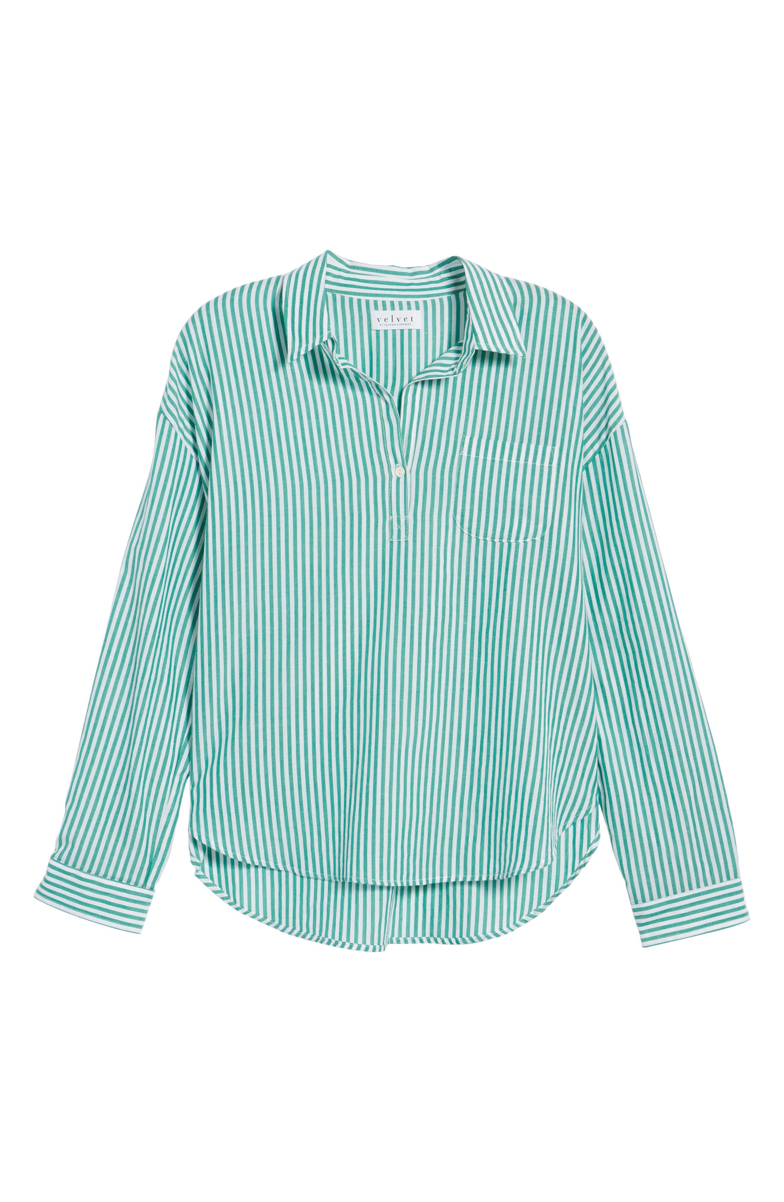 Popover Stripe Cotton Shirt,                             Alternate thumbnail 7, color,                             Green