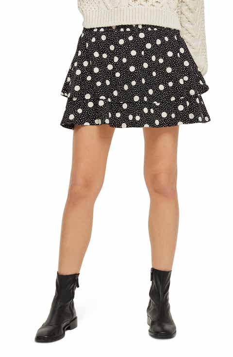 Topshop Tiered Polka Dot Skirt