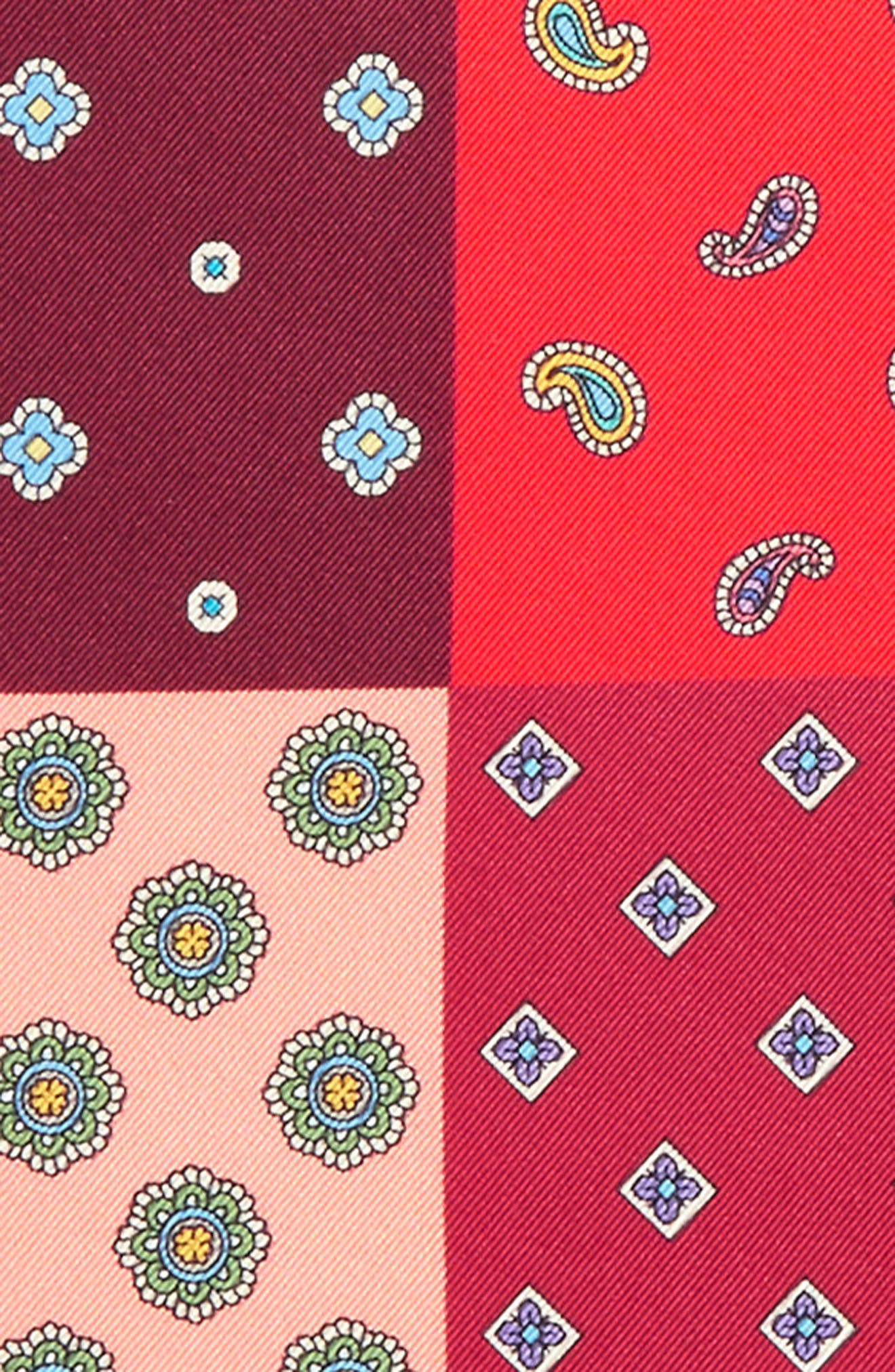 Four Panel Silk Pocket Square,                             Alternate thumbnail 3, color,                             Red