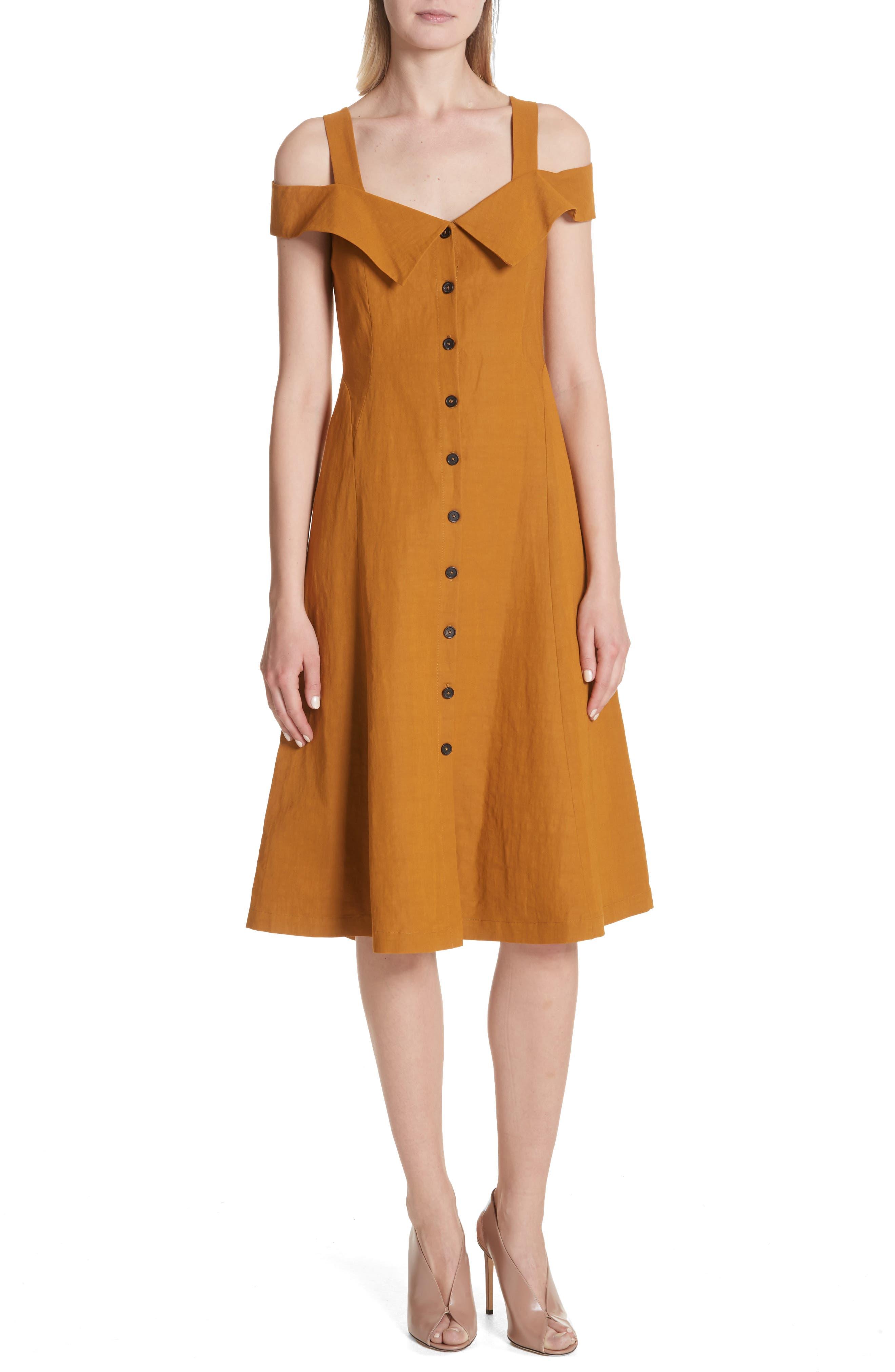 Hudson Cold Shoulder Dress,                             Main thumbnail 1, color,                             Gold