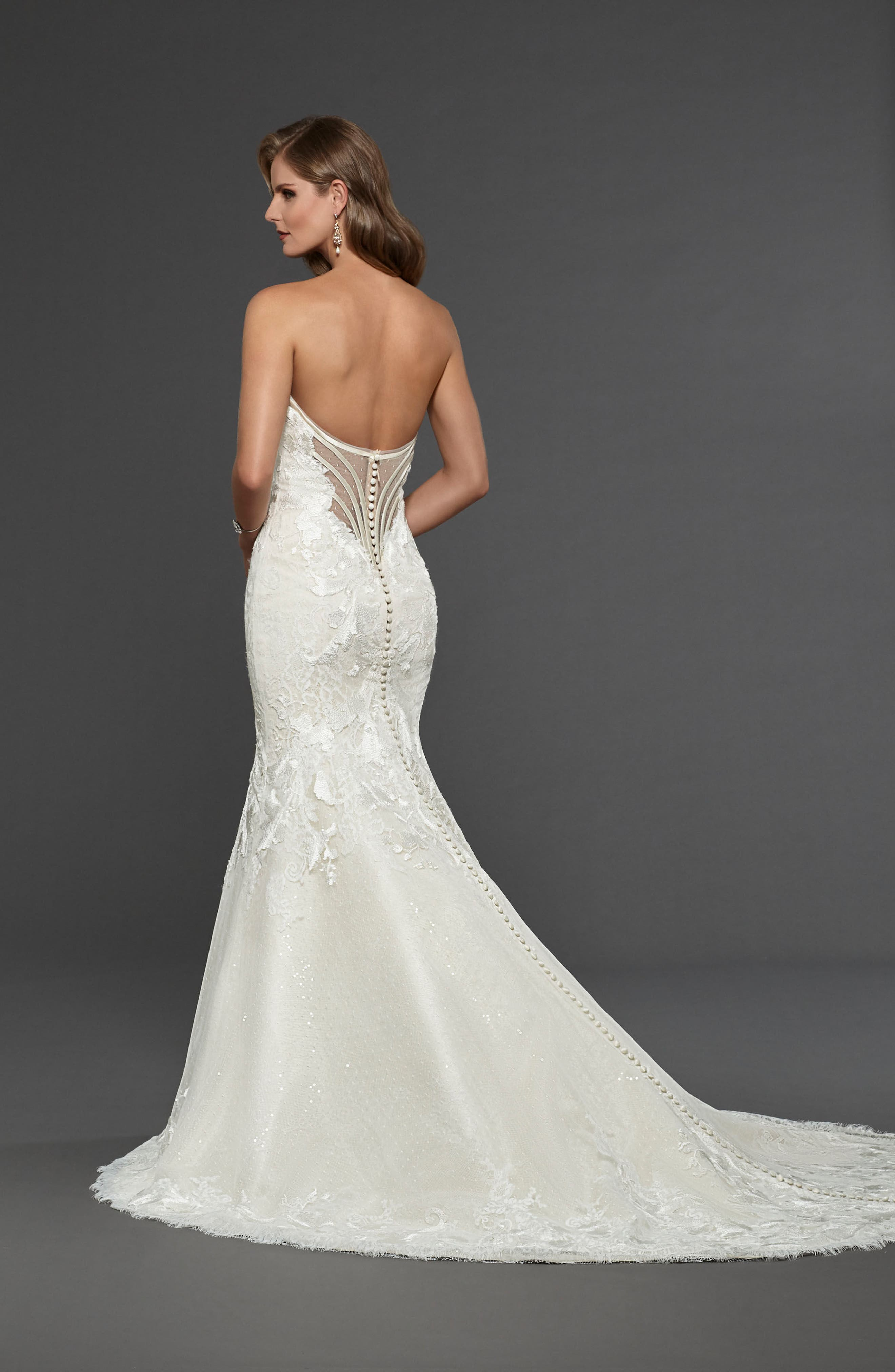 Alternate Image 2  - Matthew Christopher Claire Strapless Sweetheart Trumpet Gown
