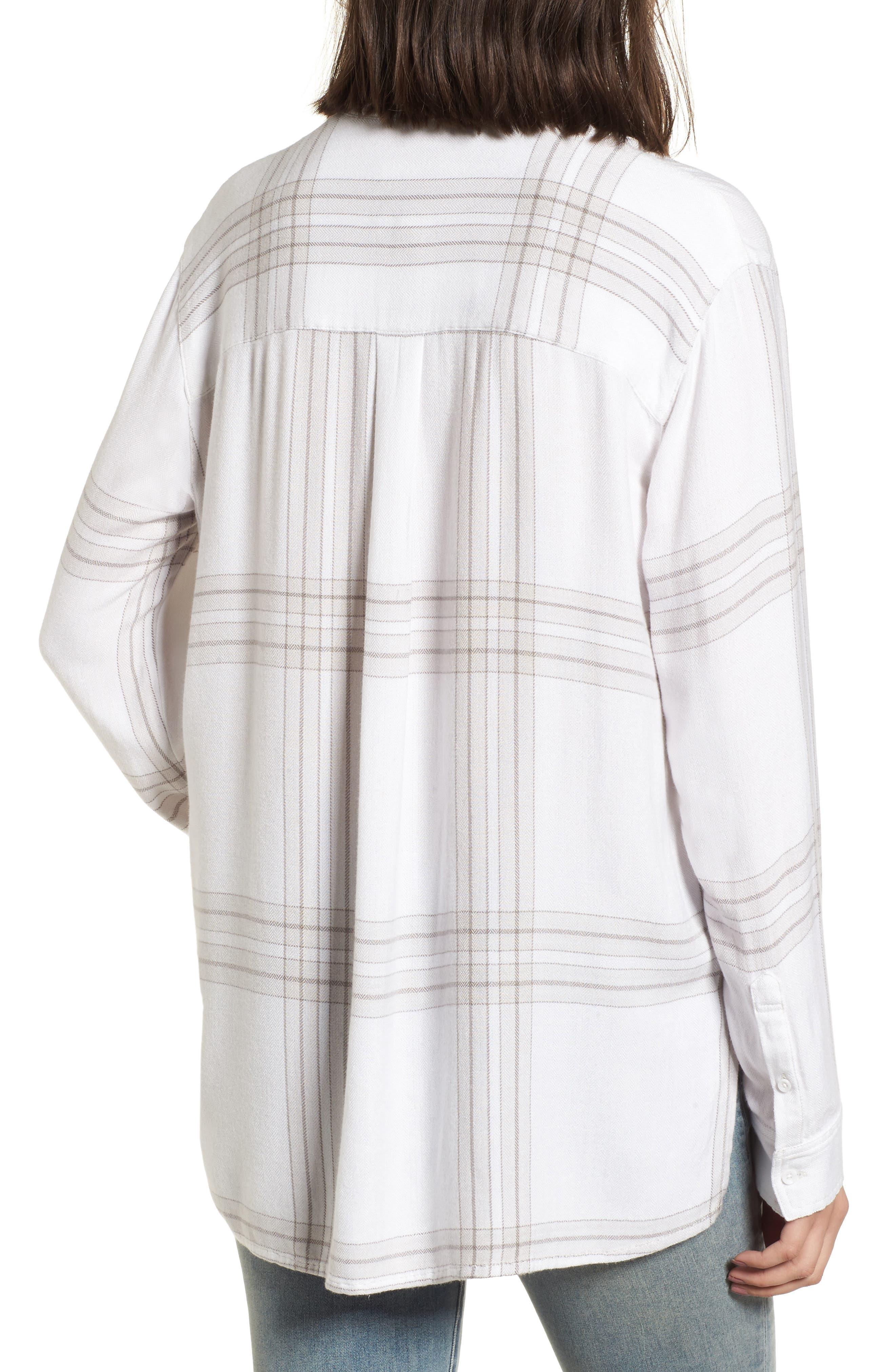 Drapey Plaid Shirt,                             Alternate thumbnail 2, color,                             Grey Ombre Open Window
