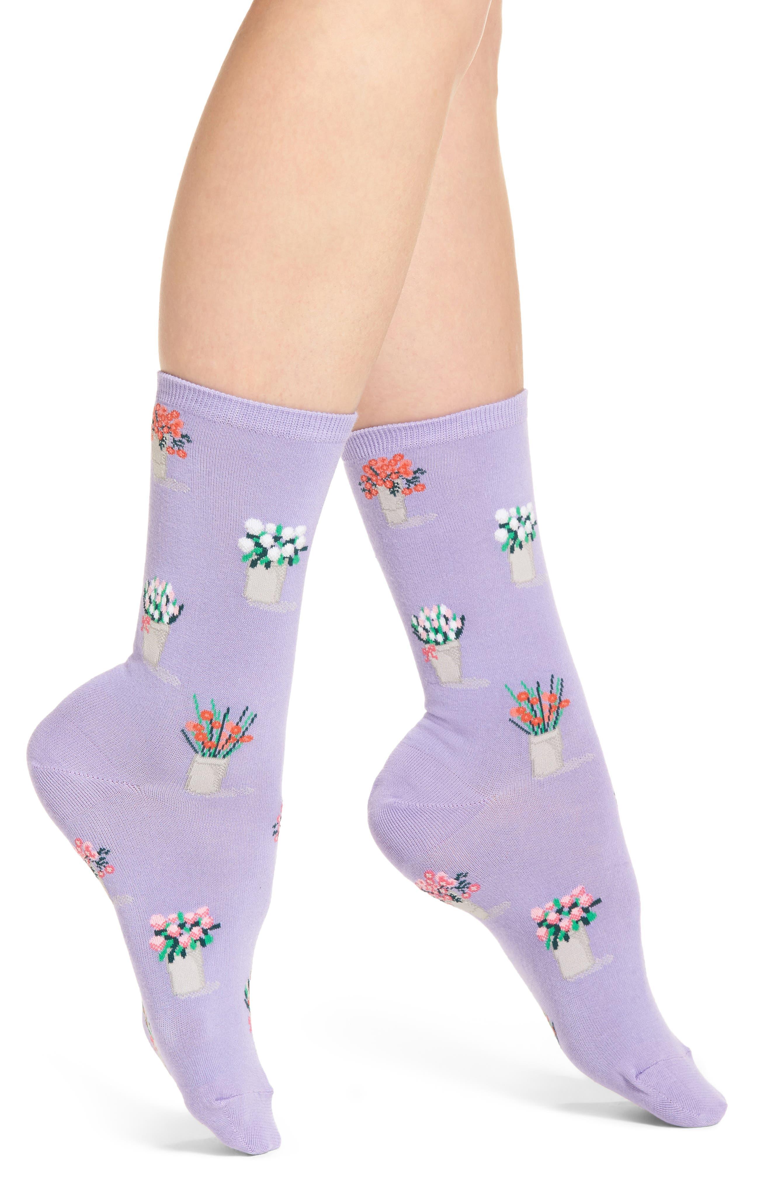 Bouquet Crew Socks,                             Main thumbnail 1, color,                             Lavender
