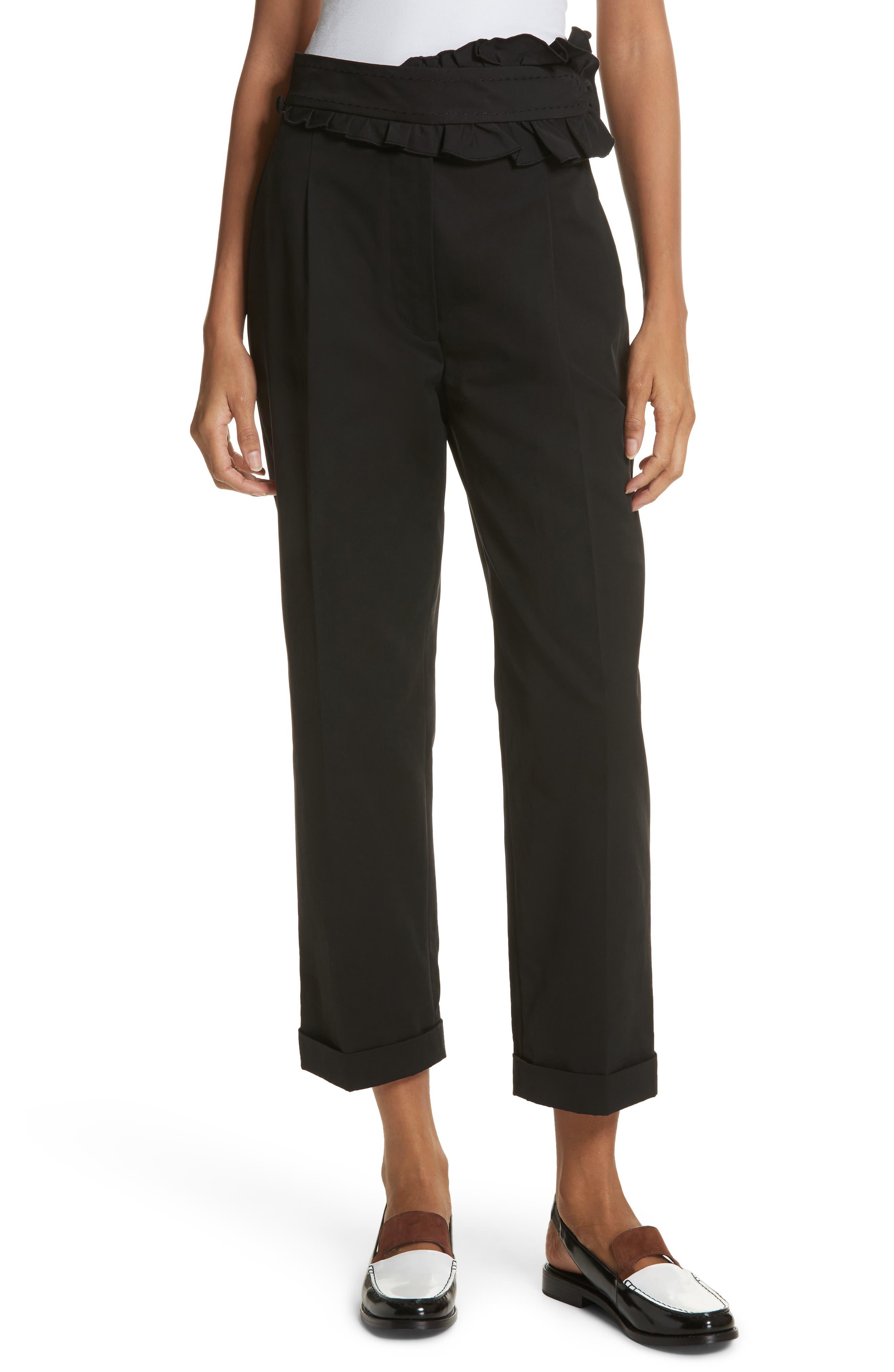 Ruffle Waist Crop Pants,                         Main,                         color, Noir