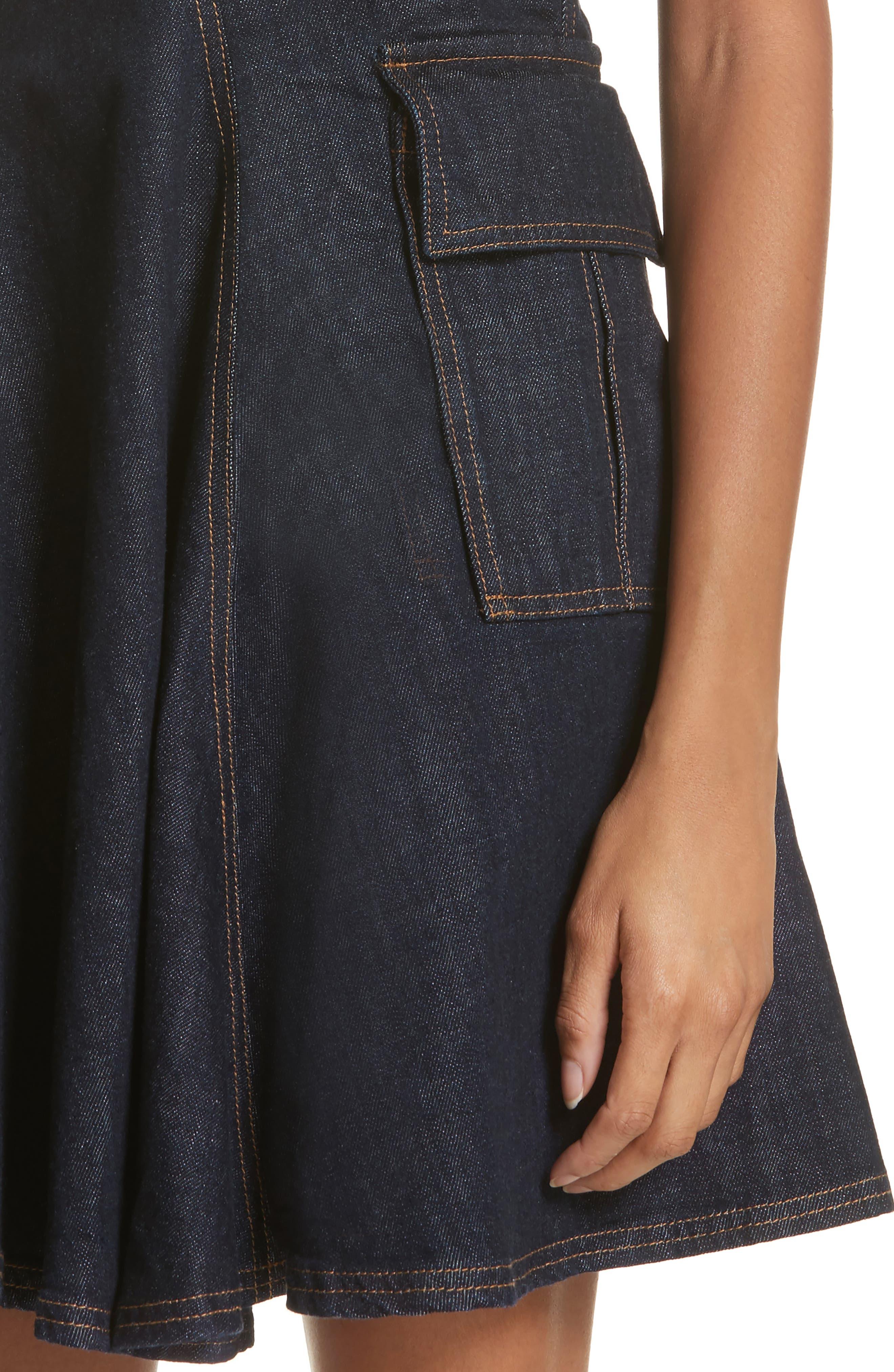 Fit & Flare Denim Dress,                             Alternate thumbnail 4, color,                             Indigo