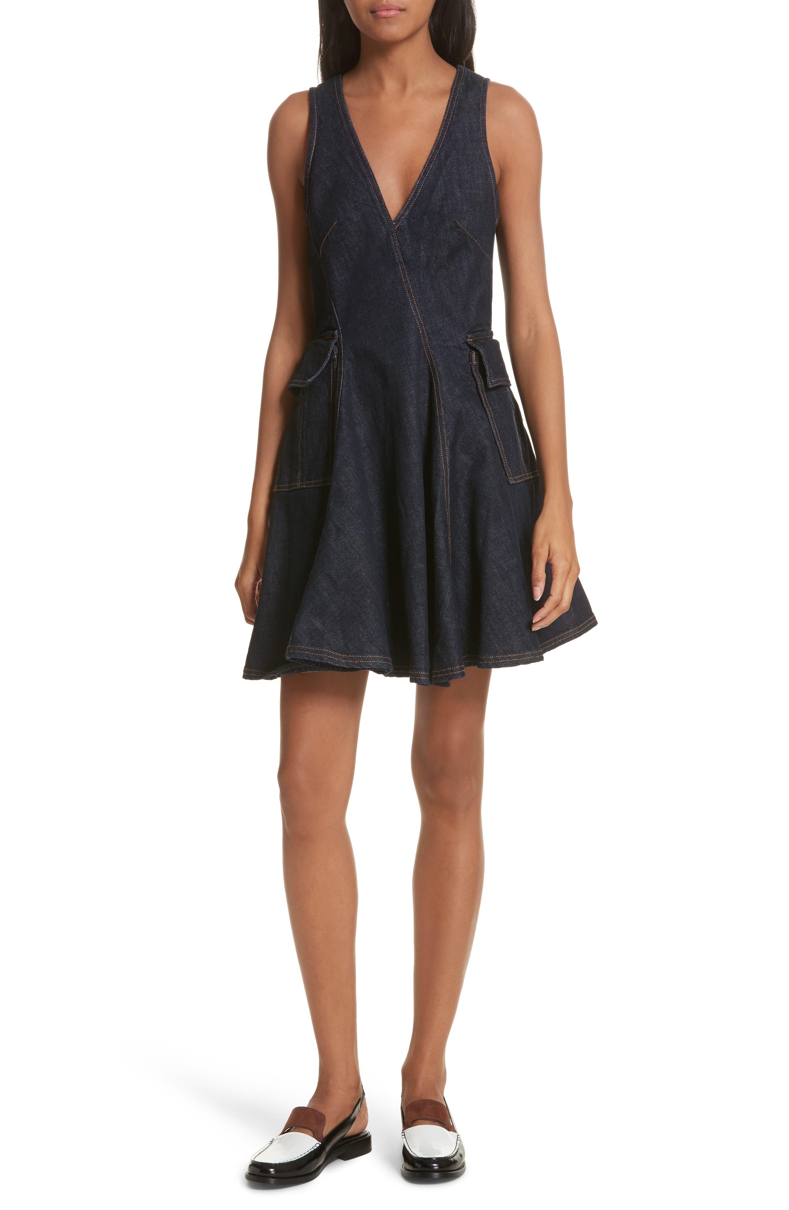 Fit & Flare Denim Dress,                             Main thumbnail 1, color,                             Indigo