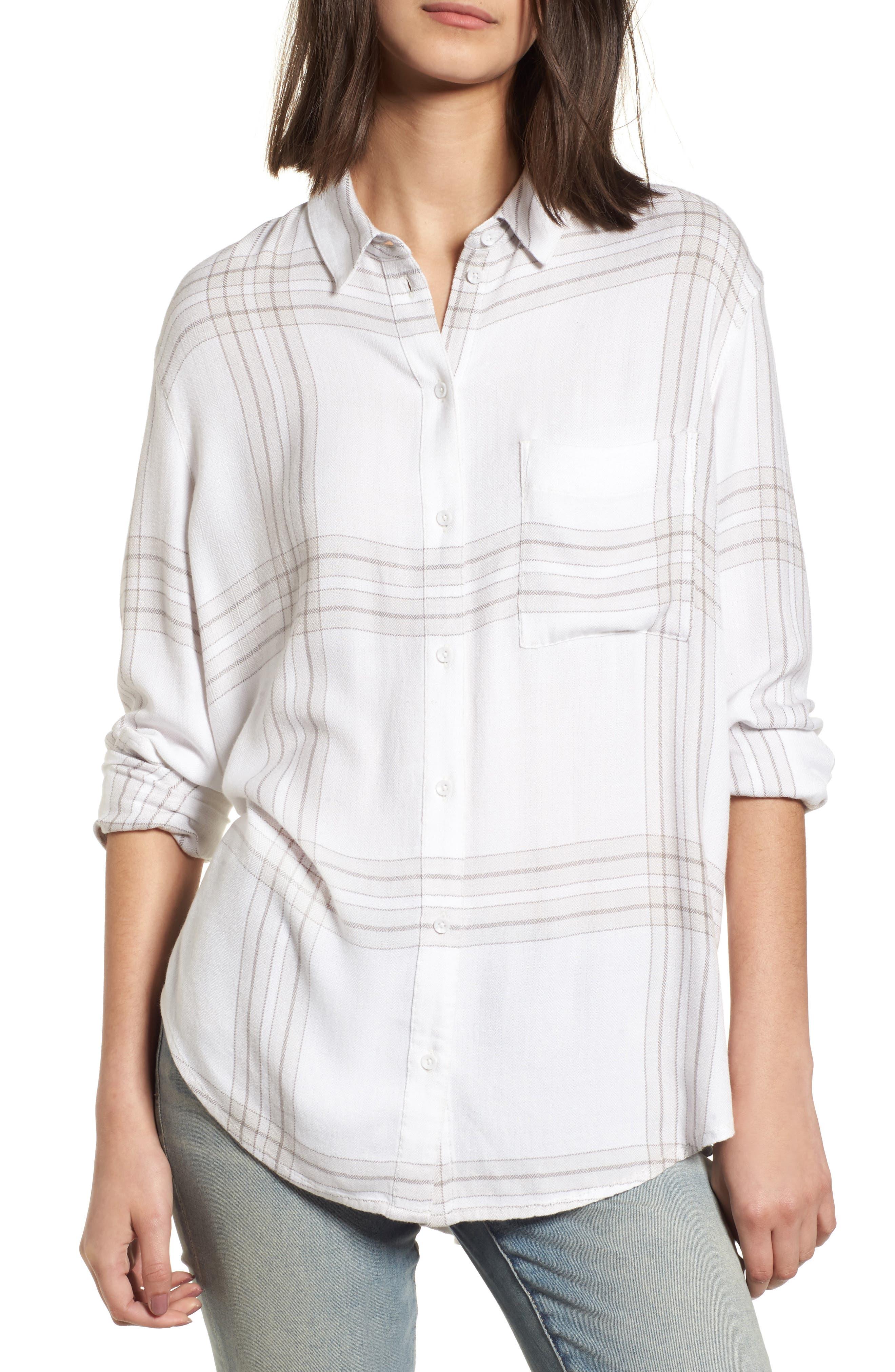 Drapey Plaid Shirt,                             Main thumbnail 1, color,                             Grey Ombre Open Window