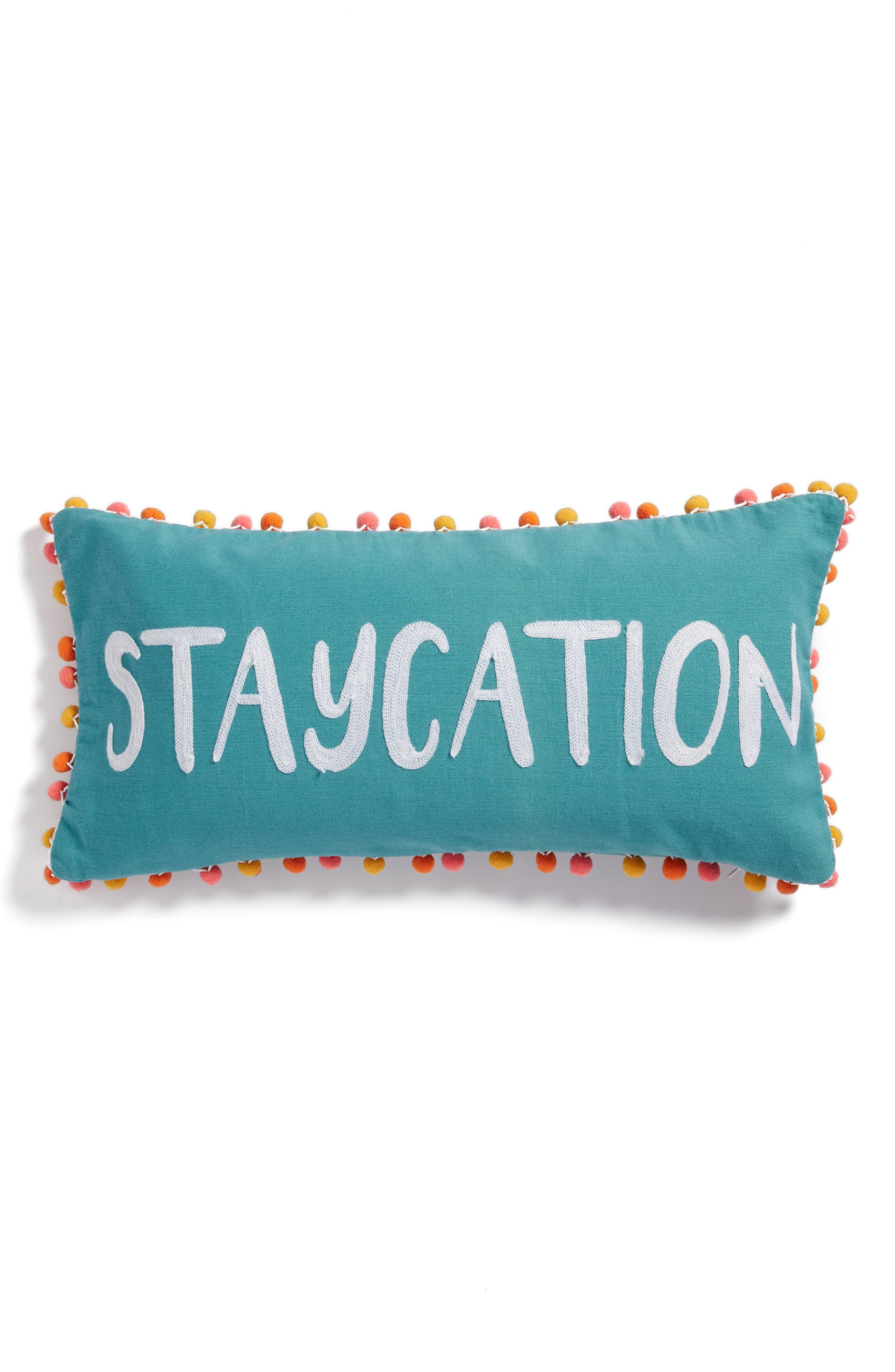 Carmen Staycation Accent Pillow,                         Main,                         color, Blue