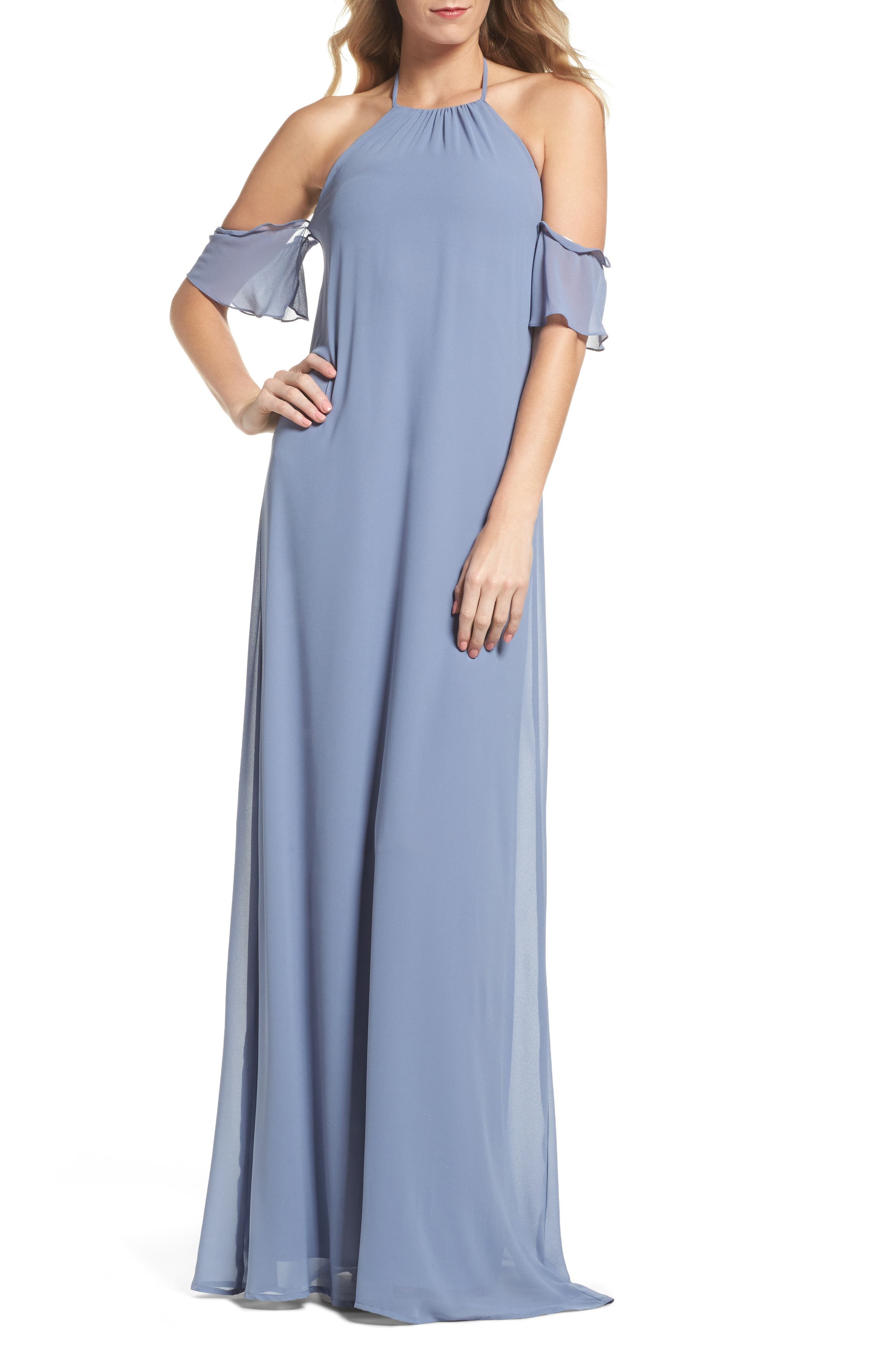 Ruffle Sleeve Halter Gown,                             Main thumbnail 1, color,                             Slate