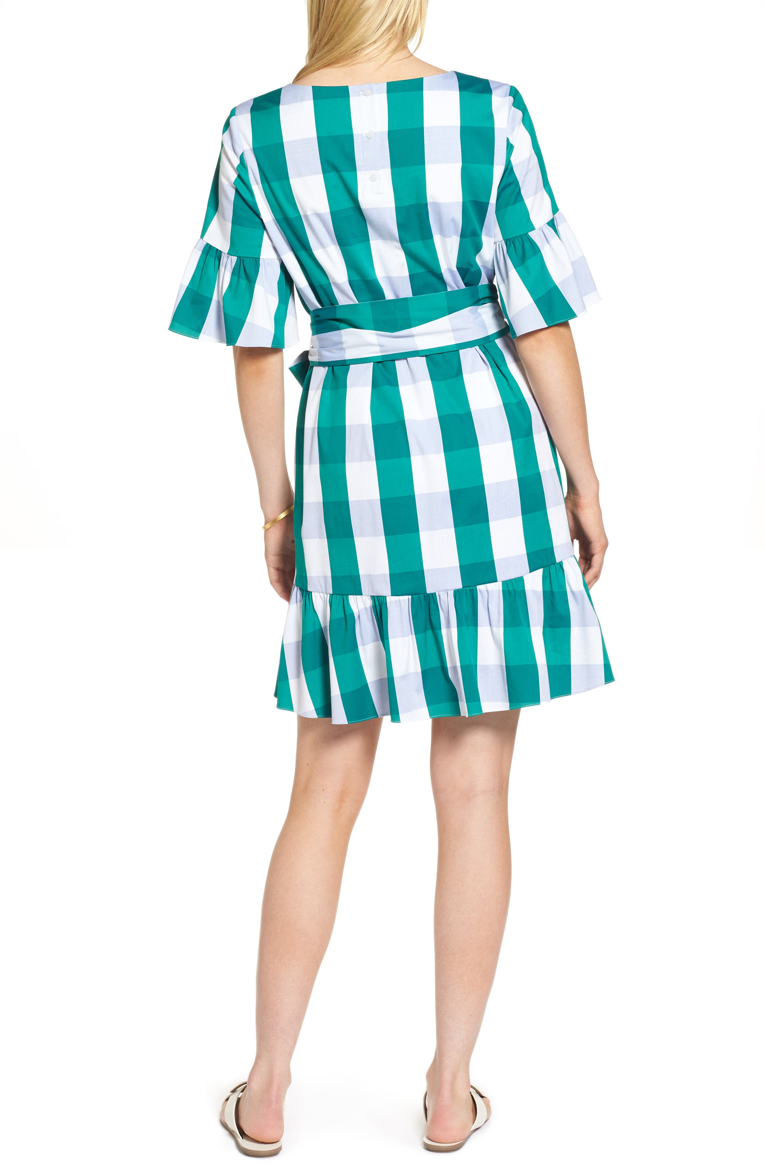 Ruffle & Bow Dress,                             Alternate thumbnail 3, color,                             Green- Blue Gingham
