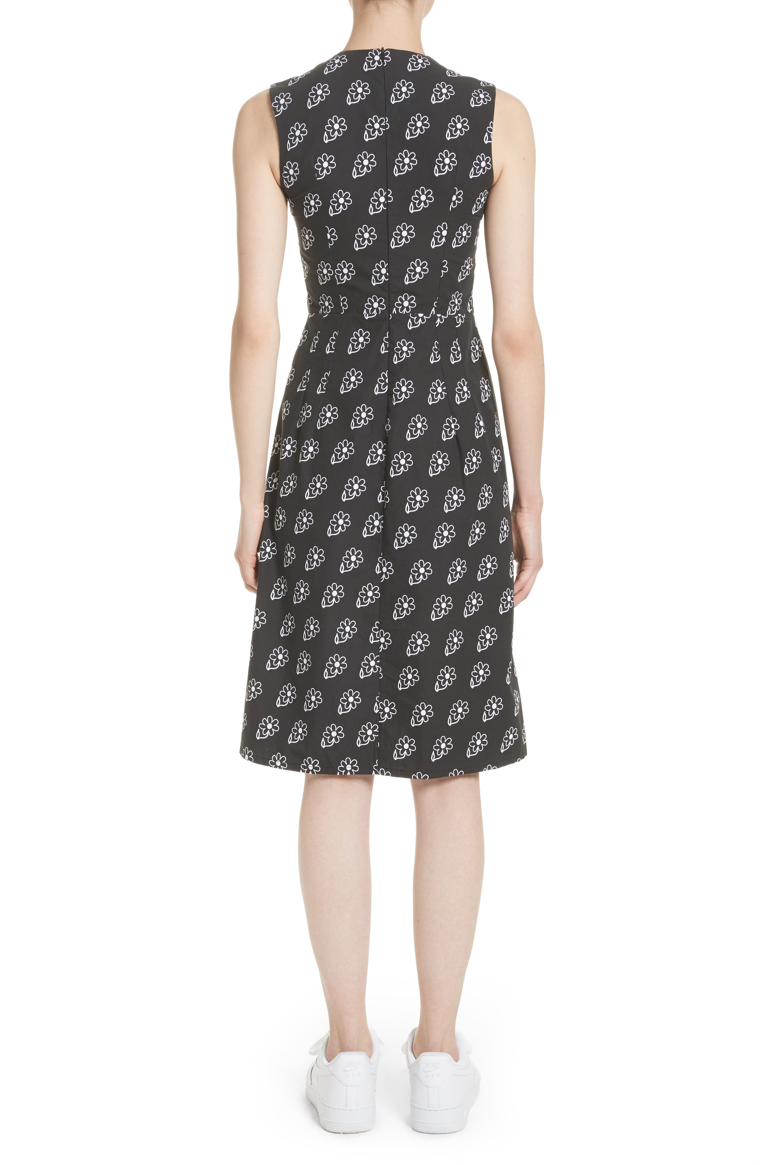 Bunny Sheath Dress with Ostrich Feather Trim,                             Alternate thumbnail 2, color,                             Black Daisy