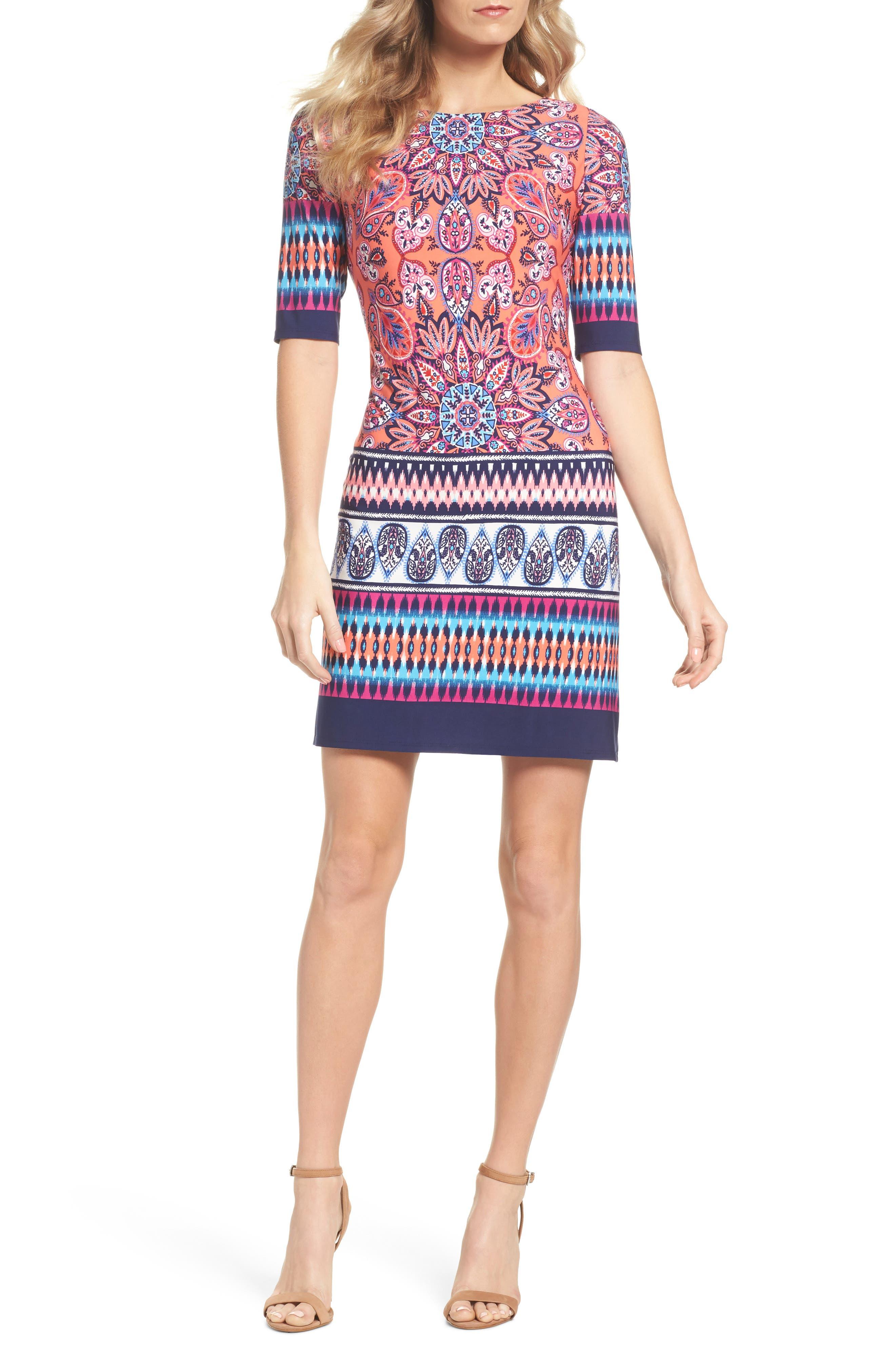 Print Sheath Dress,                             Main thumbnail 1, color,                             Red/ Pink