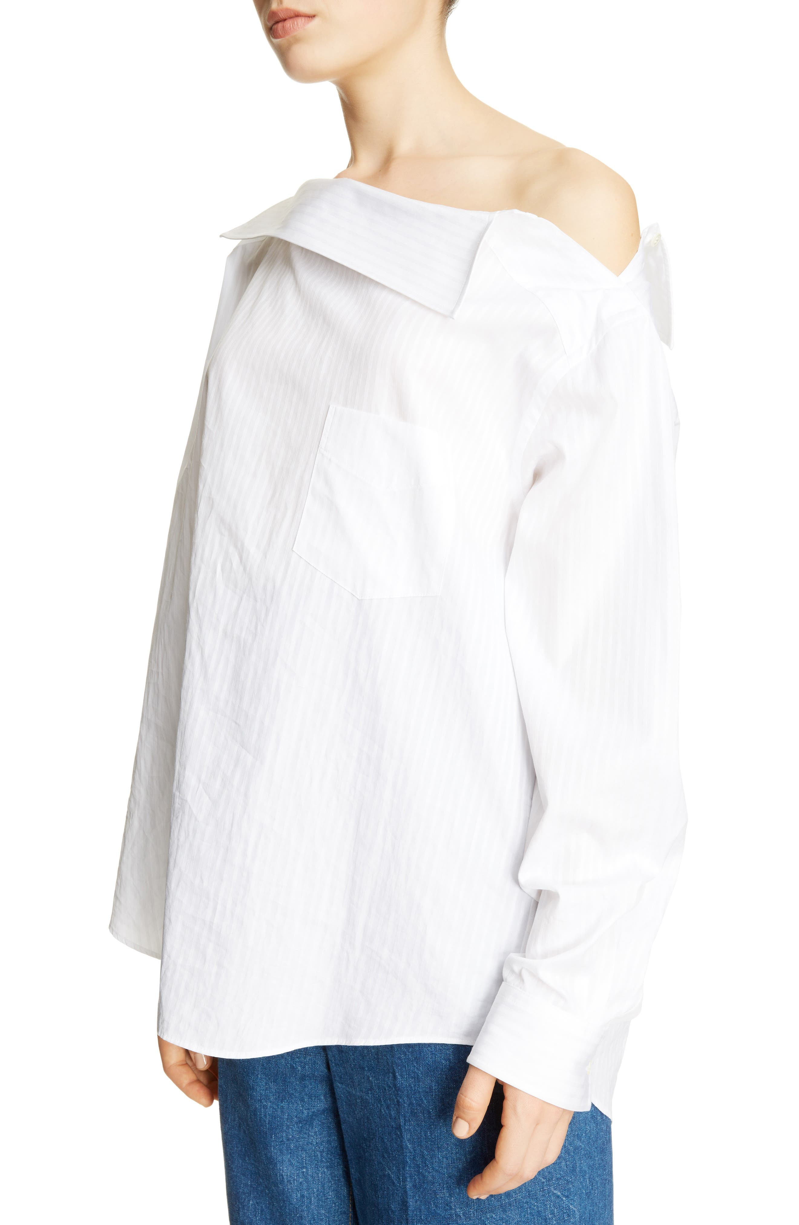Asymmetrical One-Shoulder Blouse,                             Alternate thumbnail 4, color,                             White