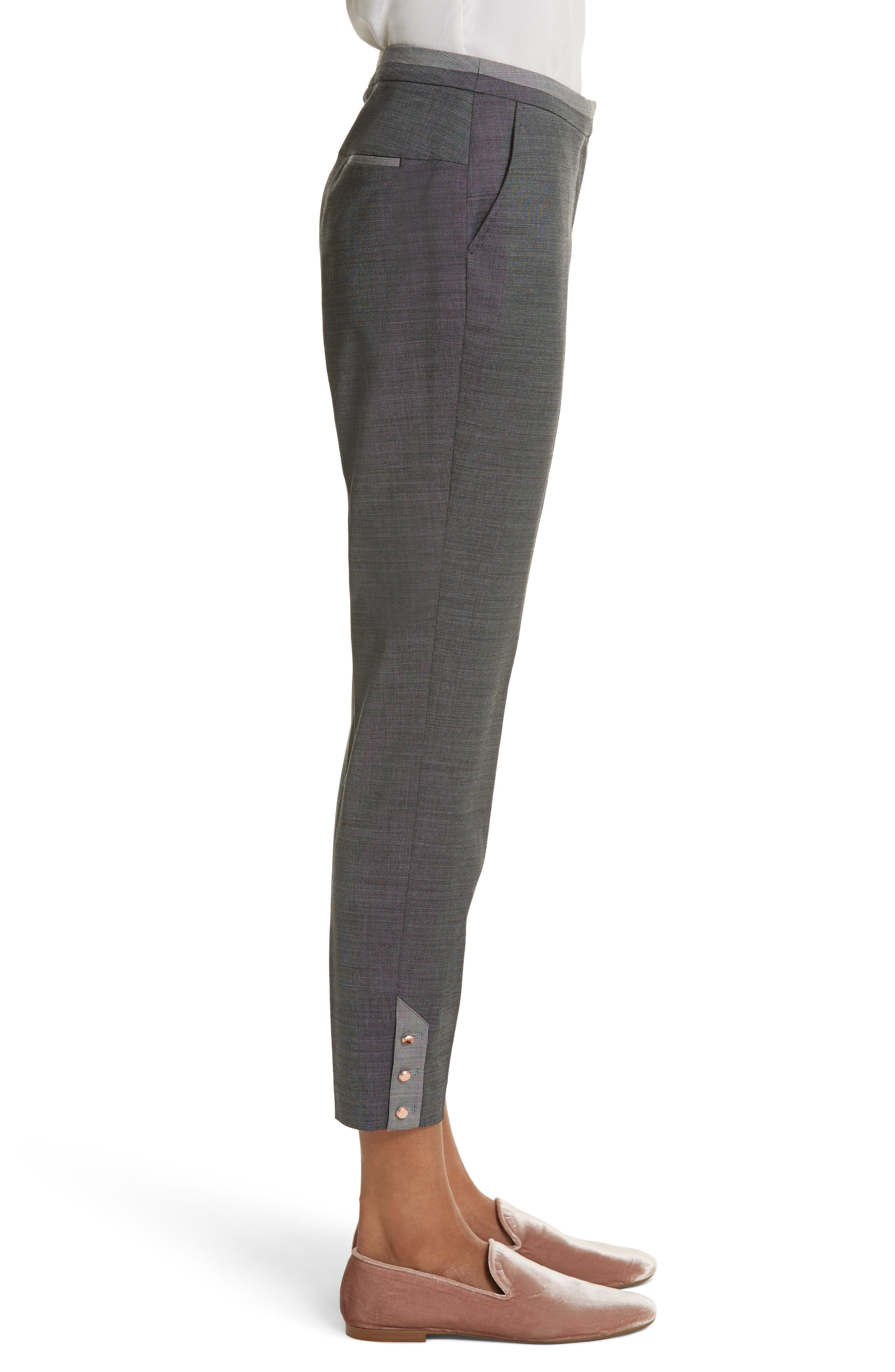 Contrast Trim Slim Leg Trousers,                             Alternate thumbnail 3, color,                             Grey