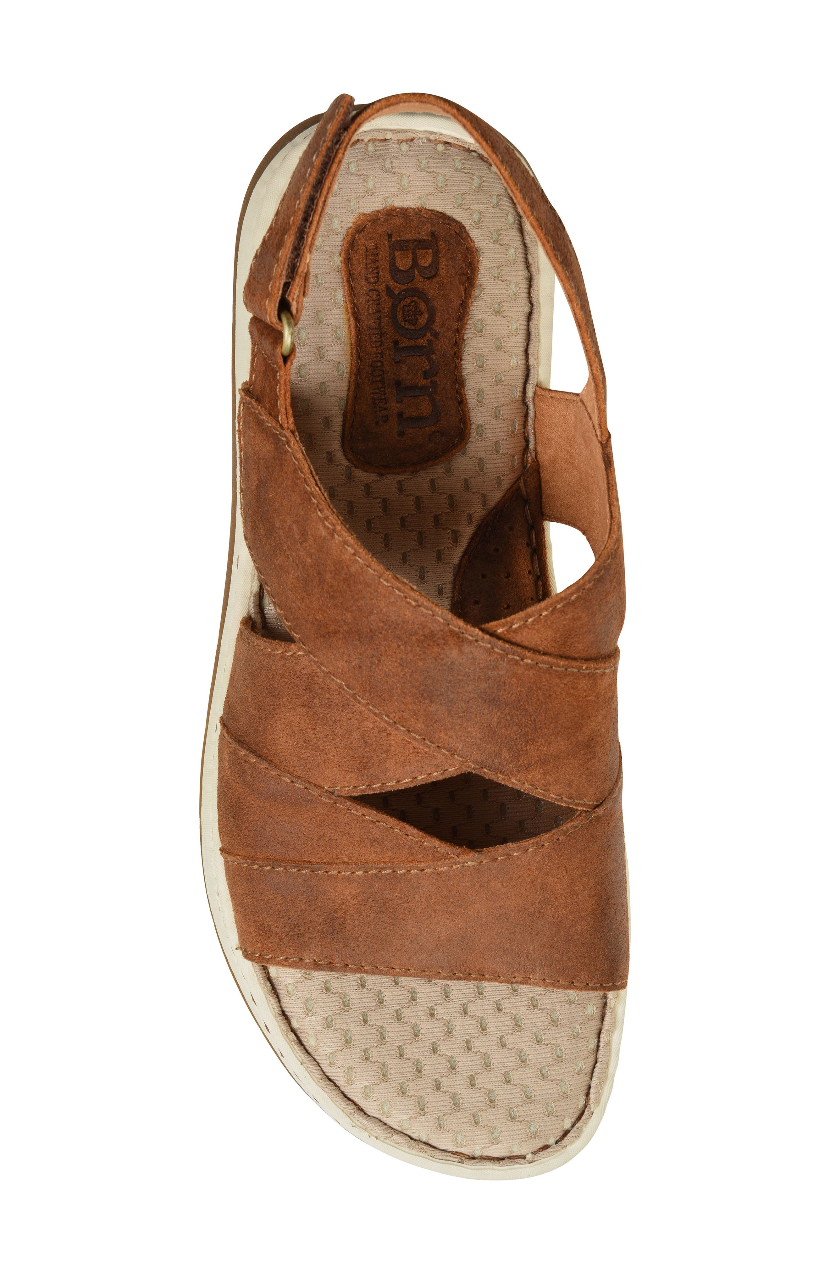 Shell Cross Strap Sandal,                             Alternate thumbnail 5, color,                             Rust Leather