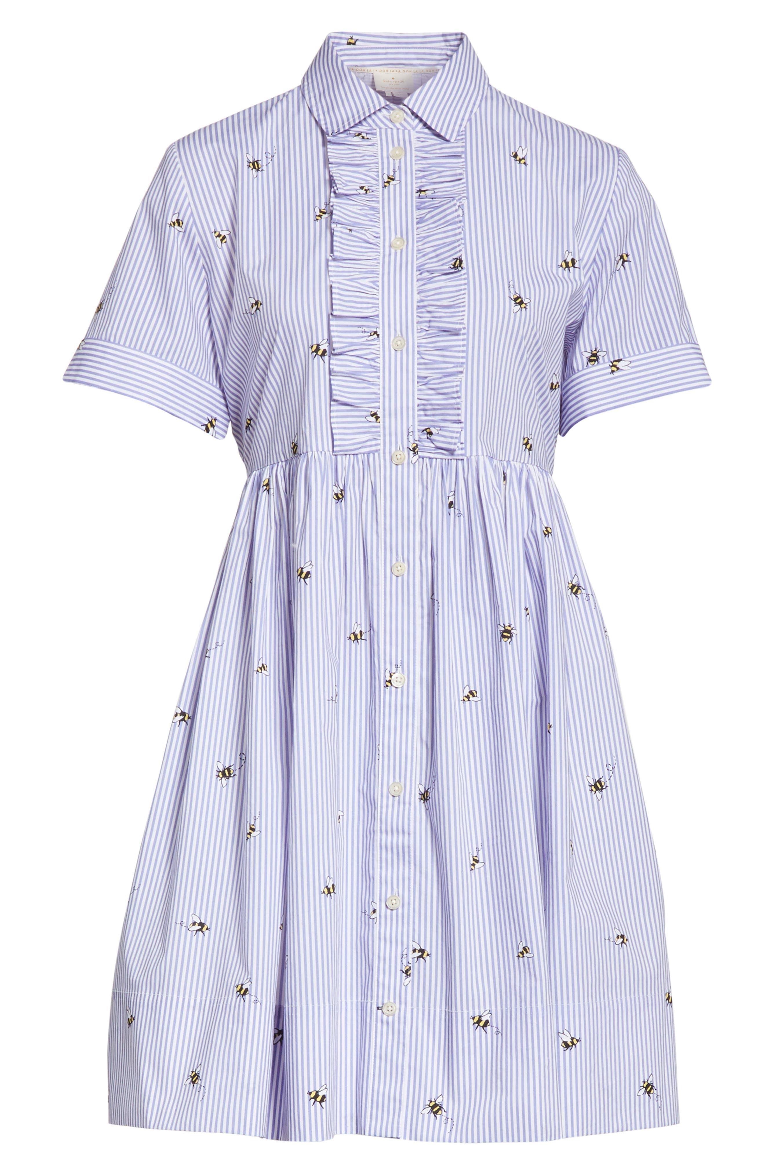 abuzz poplin shirtdress,                             Alternate thumbnail 6, color,                             Fresh White/ Rich Lapis