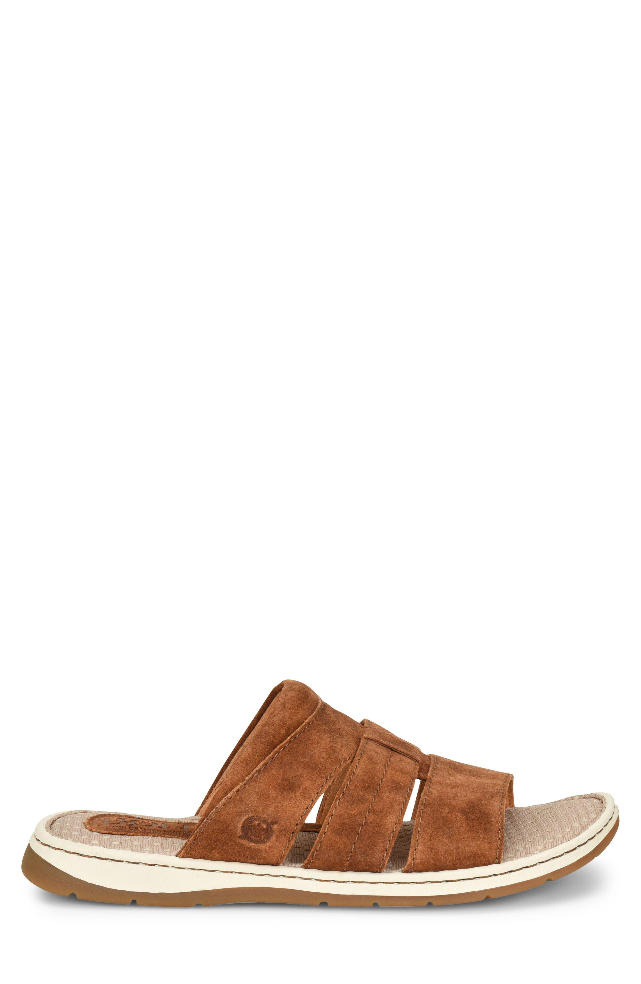 Sail Slide Sandal,                             Alternate thumbnail 3, color,                             Rust Leather