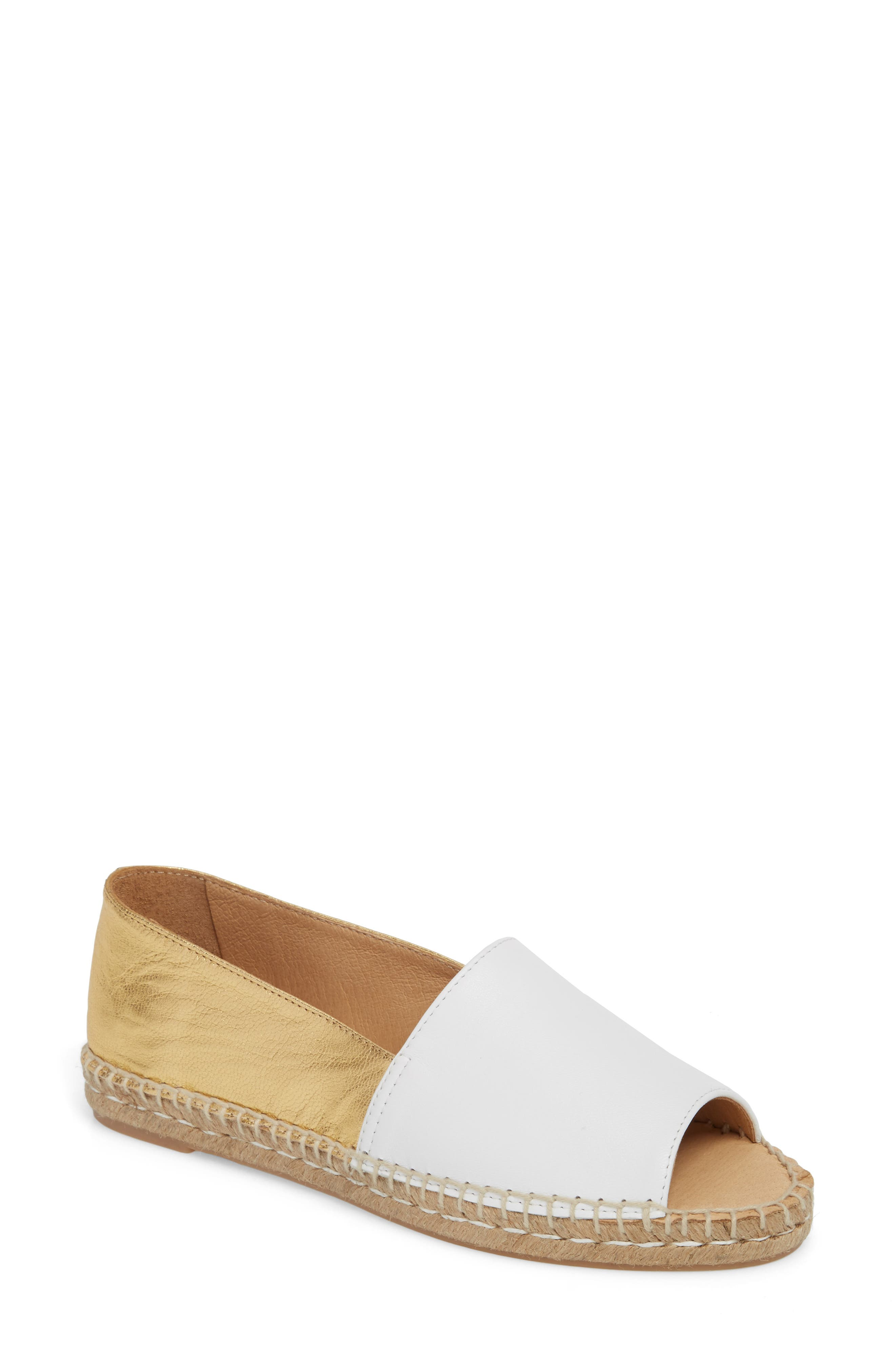 Milly Espadrille,                         Main,                         color, Gold Leather
