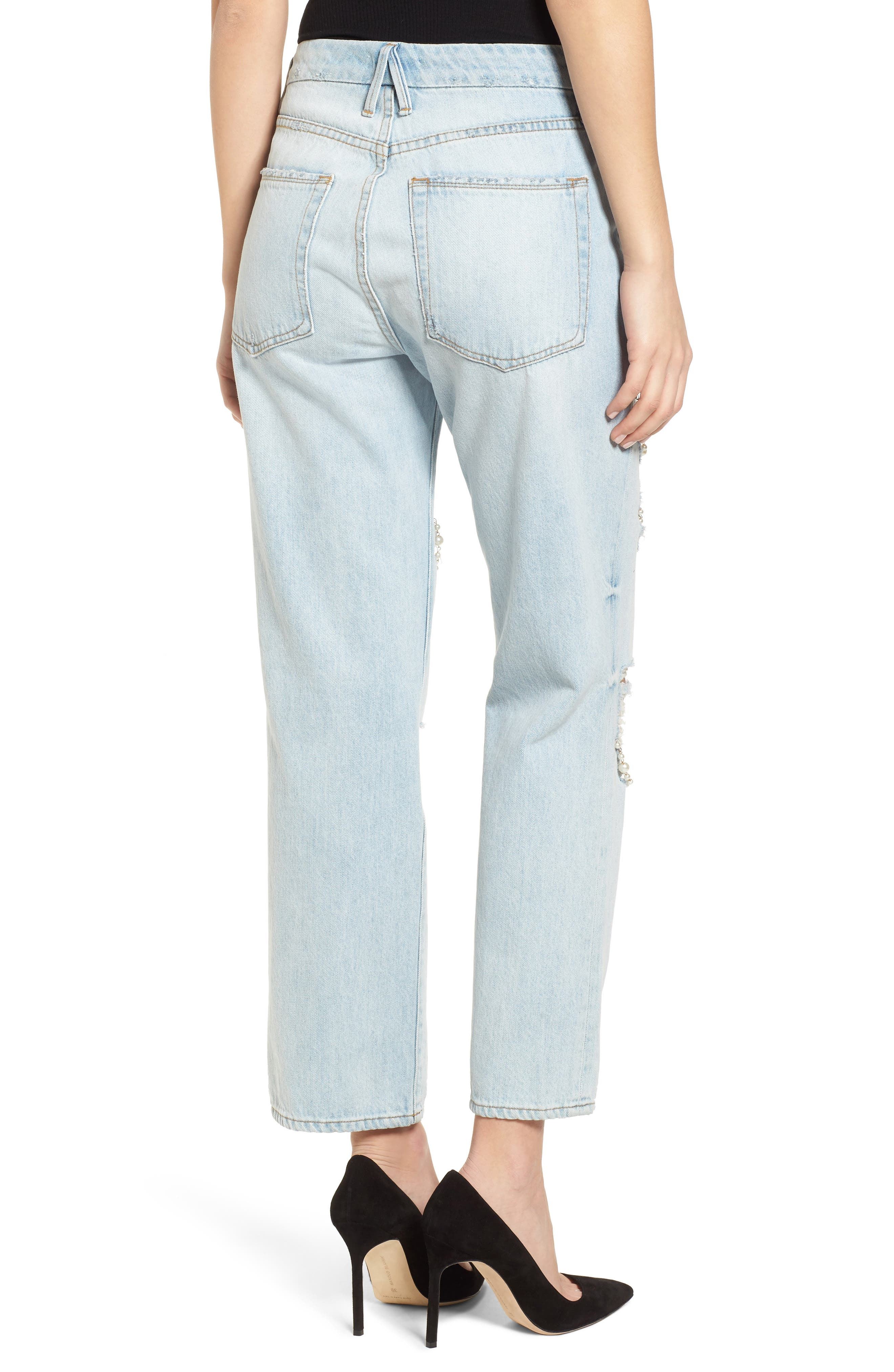 Good Straight Pearls High Waist Jeans,                             Alternate thumbnail 2, color,                             Blue143