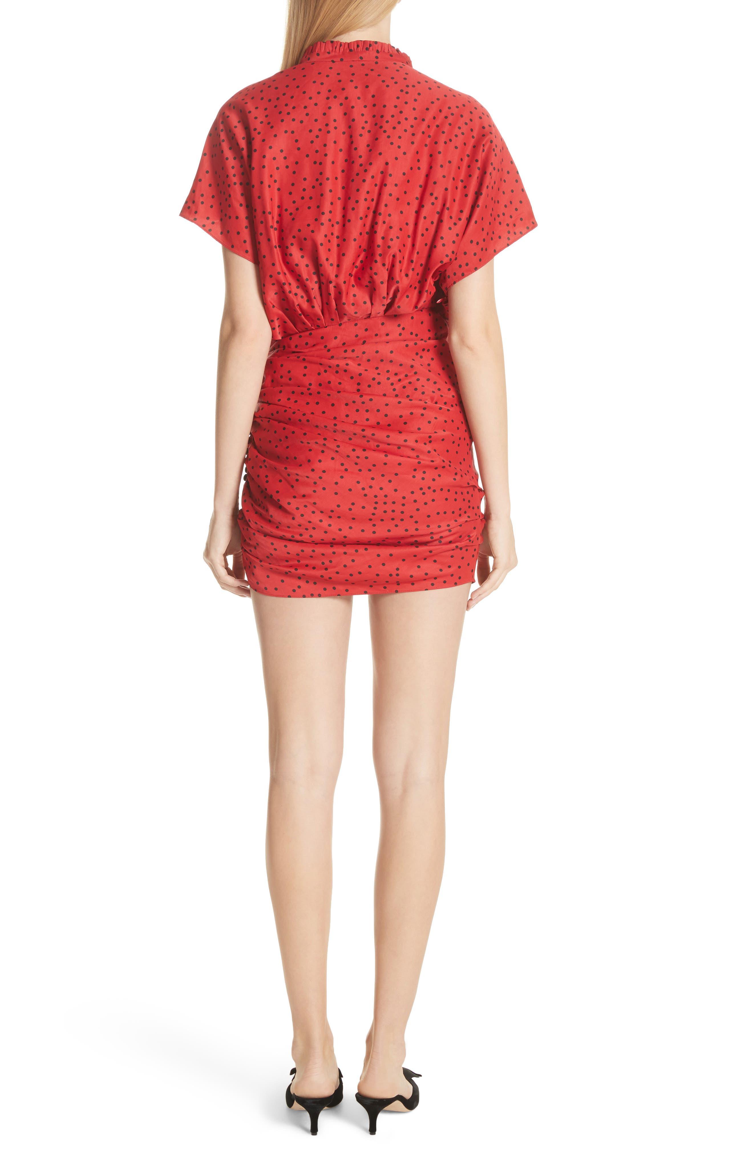 Polka Dot Linen Blend Minidress,                             Alternate thumbnail 2, color,                             Red