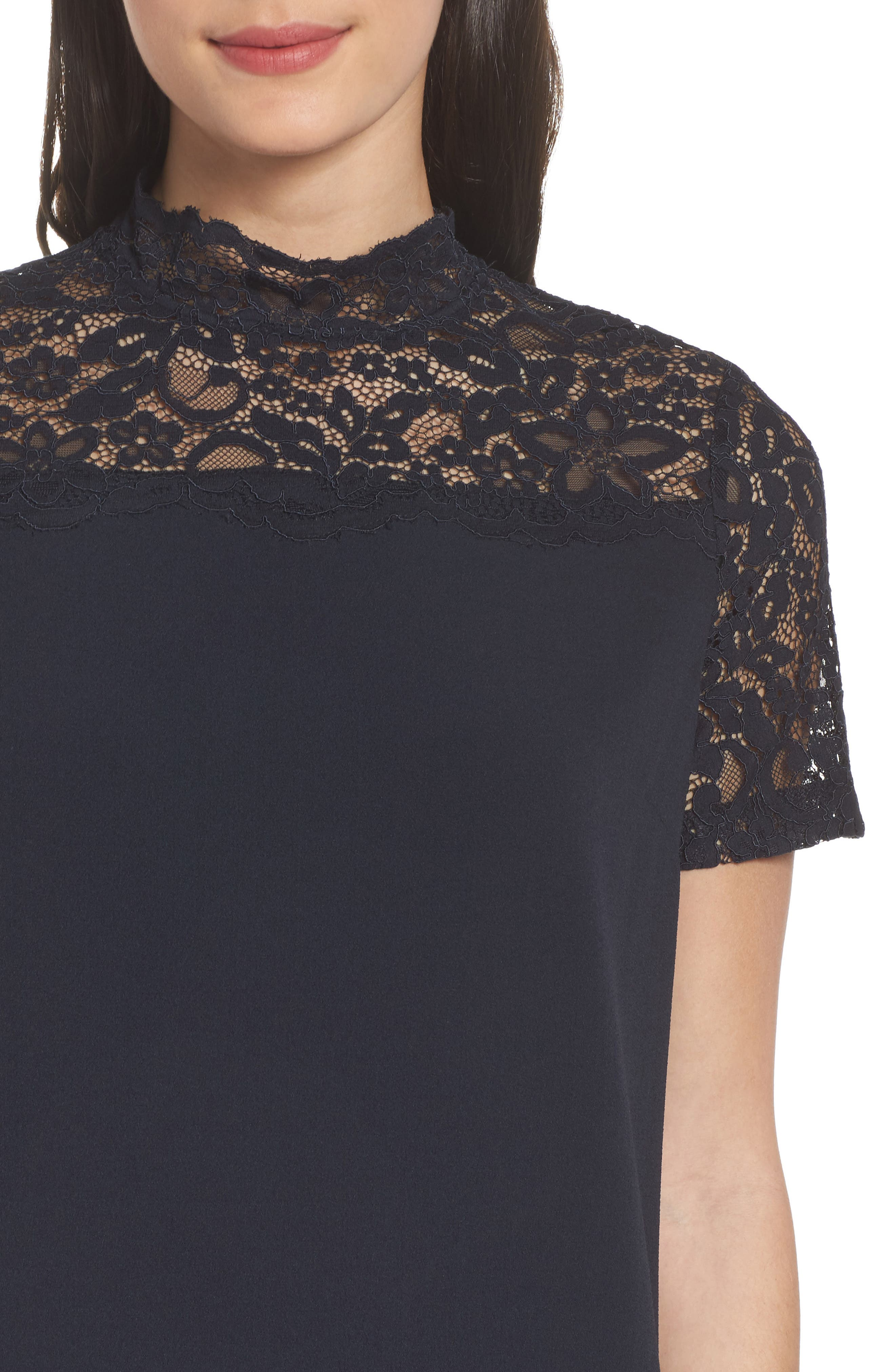 Portofino Lace Detail Shift Dress,                             Alternate thumbnail 4, color,                             Navy