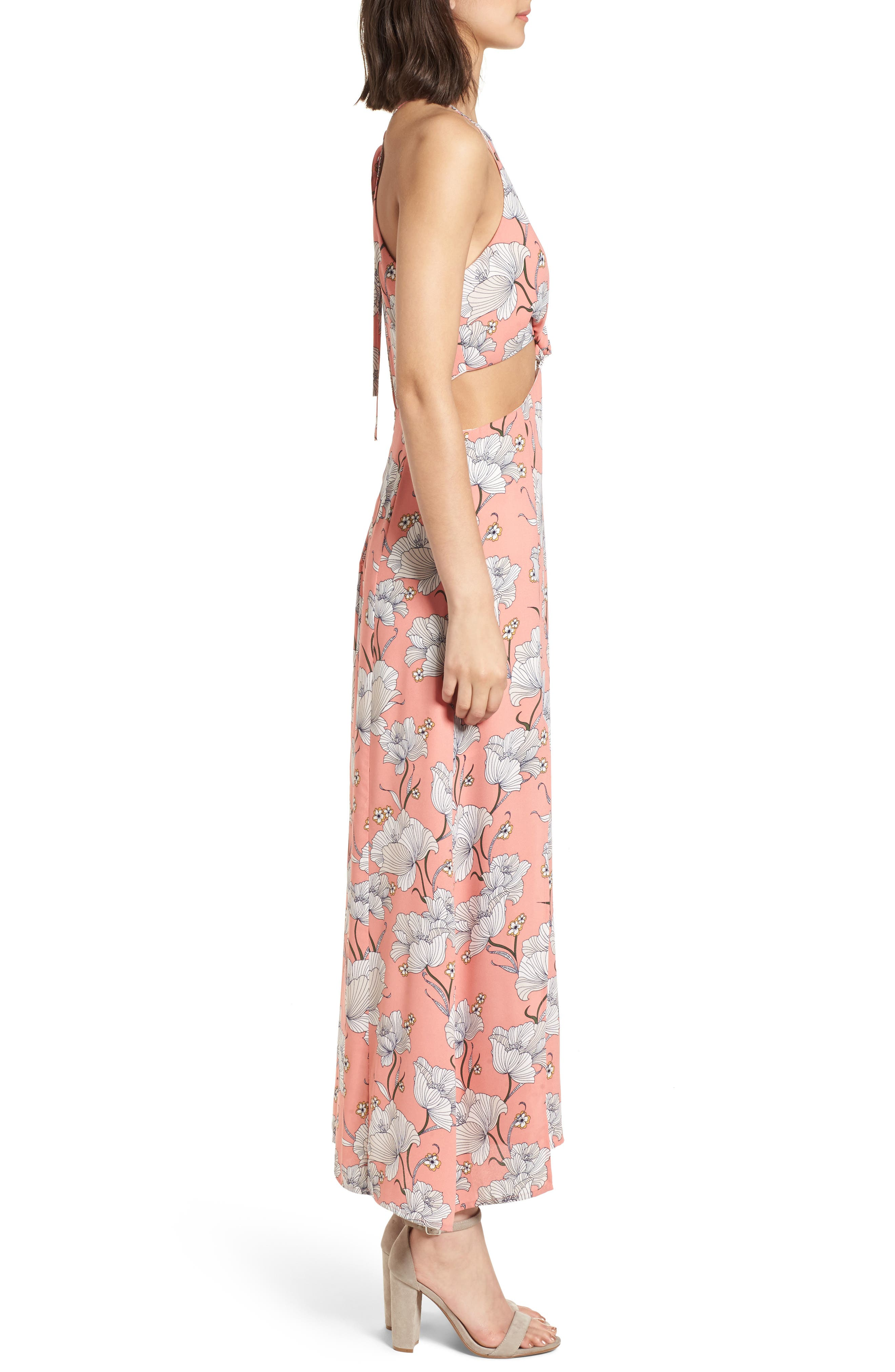 Floral Cutout Maxi Dress,                             Alternate thumbnail 3, color,                             Pink Floral