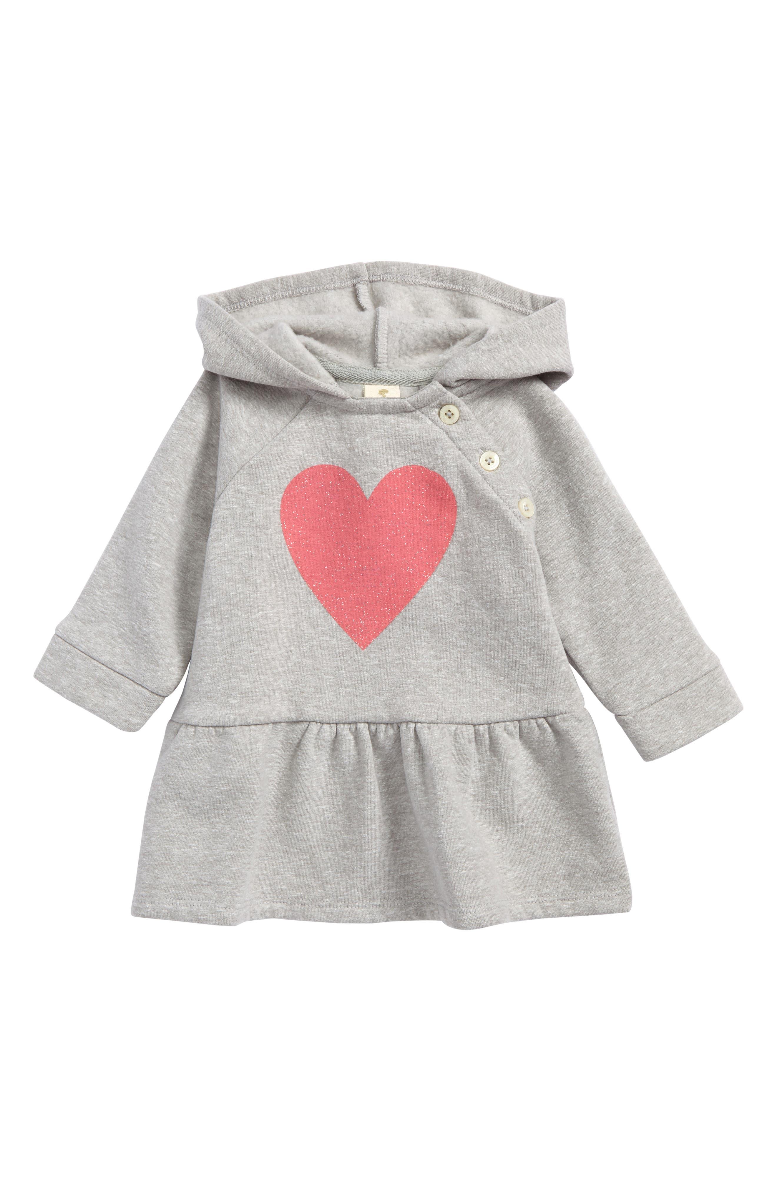 Tucker + Tate Sparkle Heart Hooded Fleece Dress (Baby Girls)