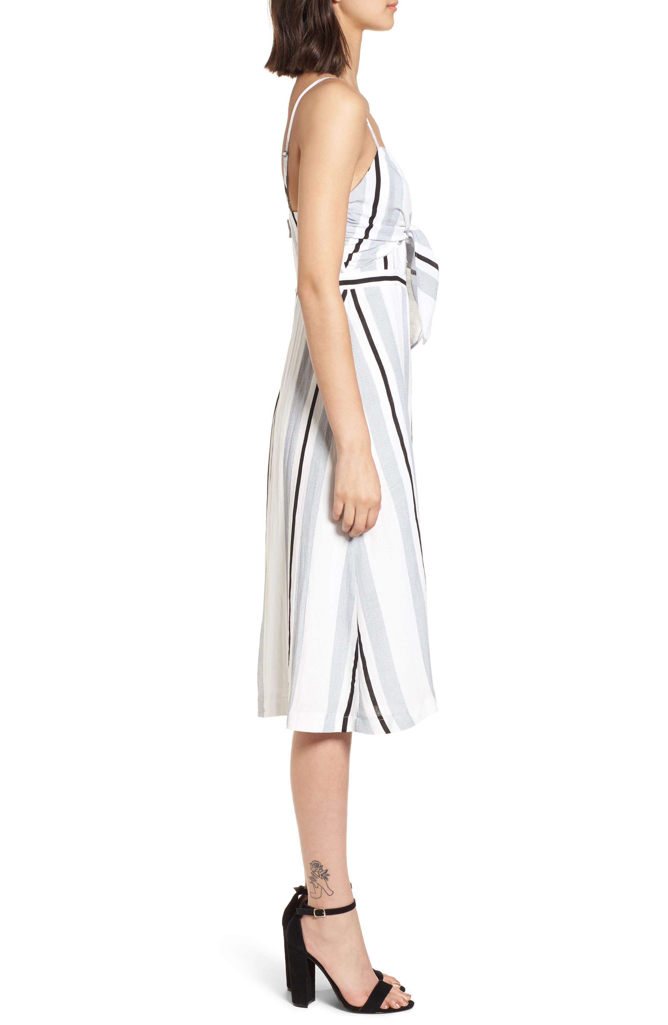 Stripe Tie Front Midi Dress,                             Alternate thumbnail 3, color,                             Blue/ White Stripe