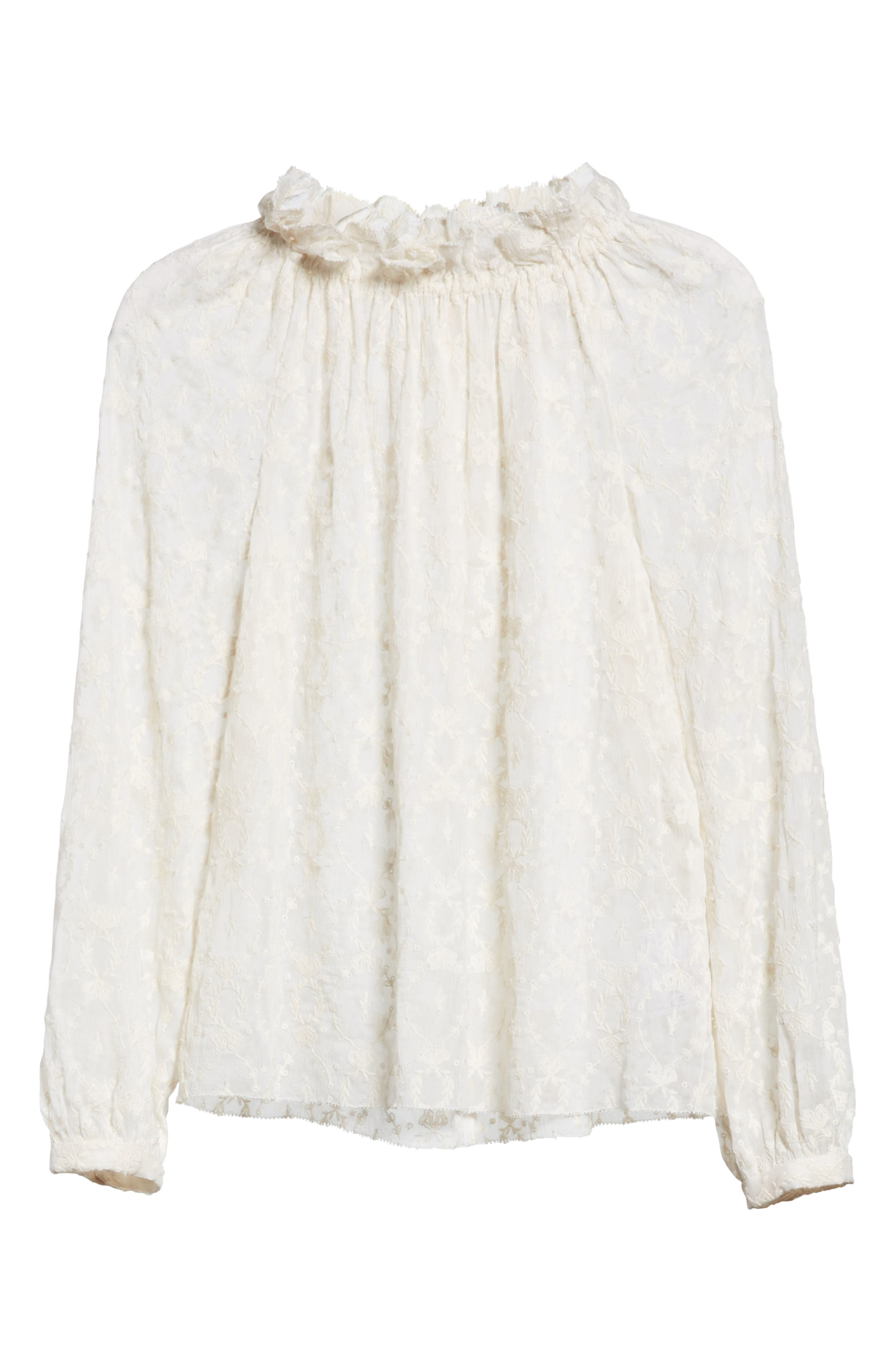 Lily Embroidered Silk Top,                             Alternate thumbnail 6, color,                             Snow