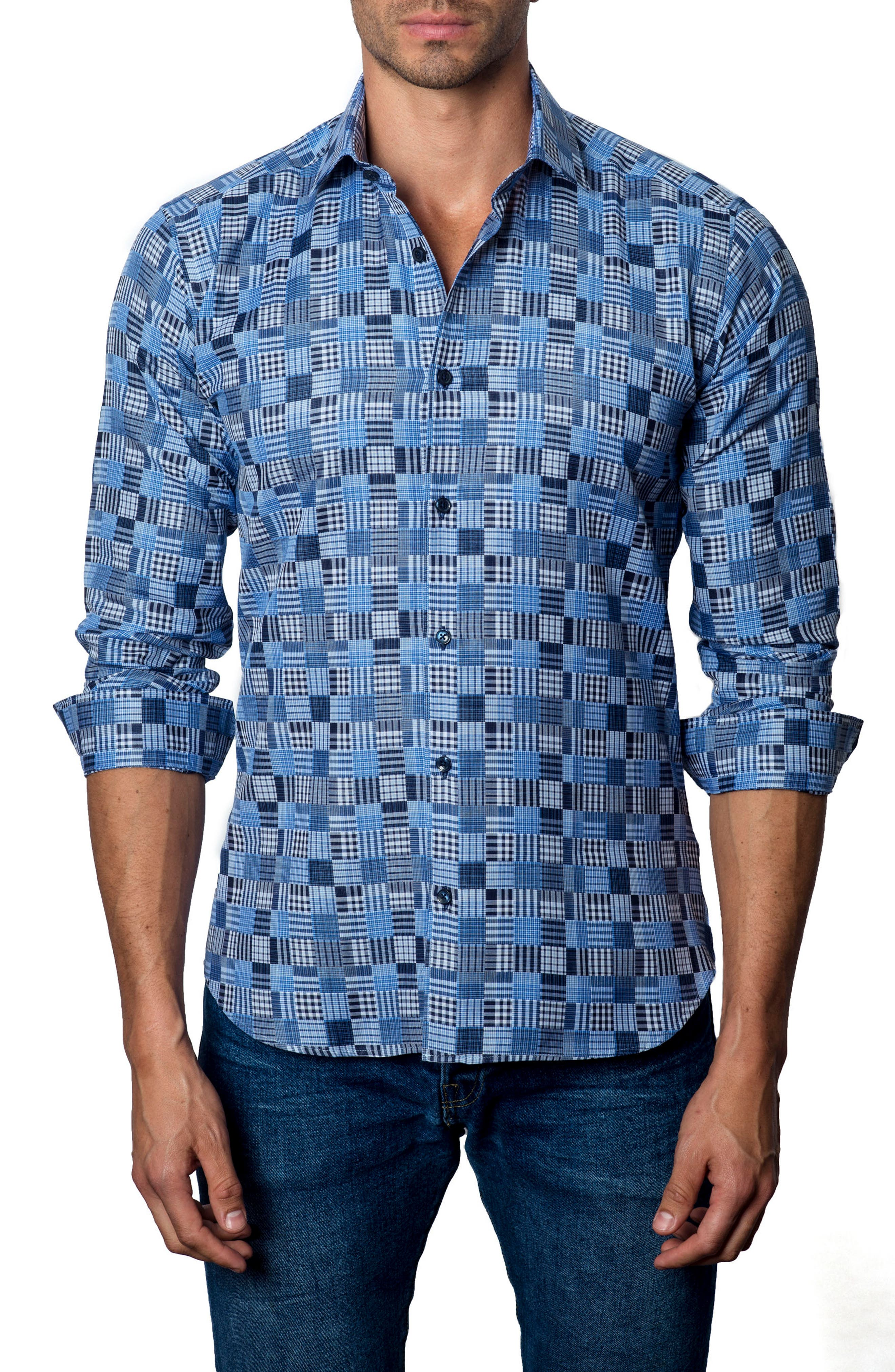 Slim Fit Madras Sport Shirt,                         Main,                         color, Blue / Navy