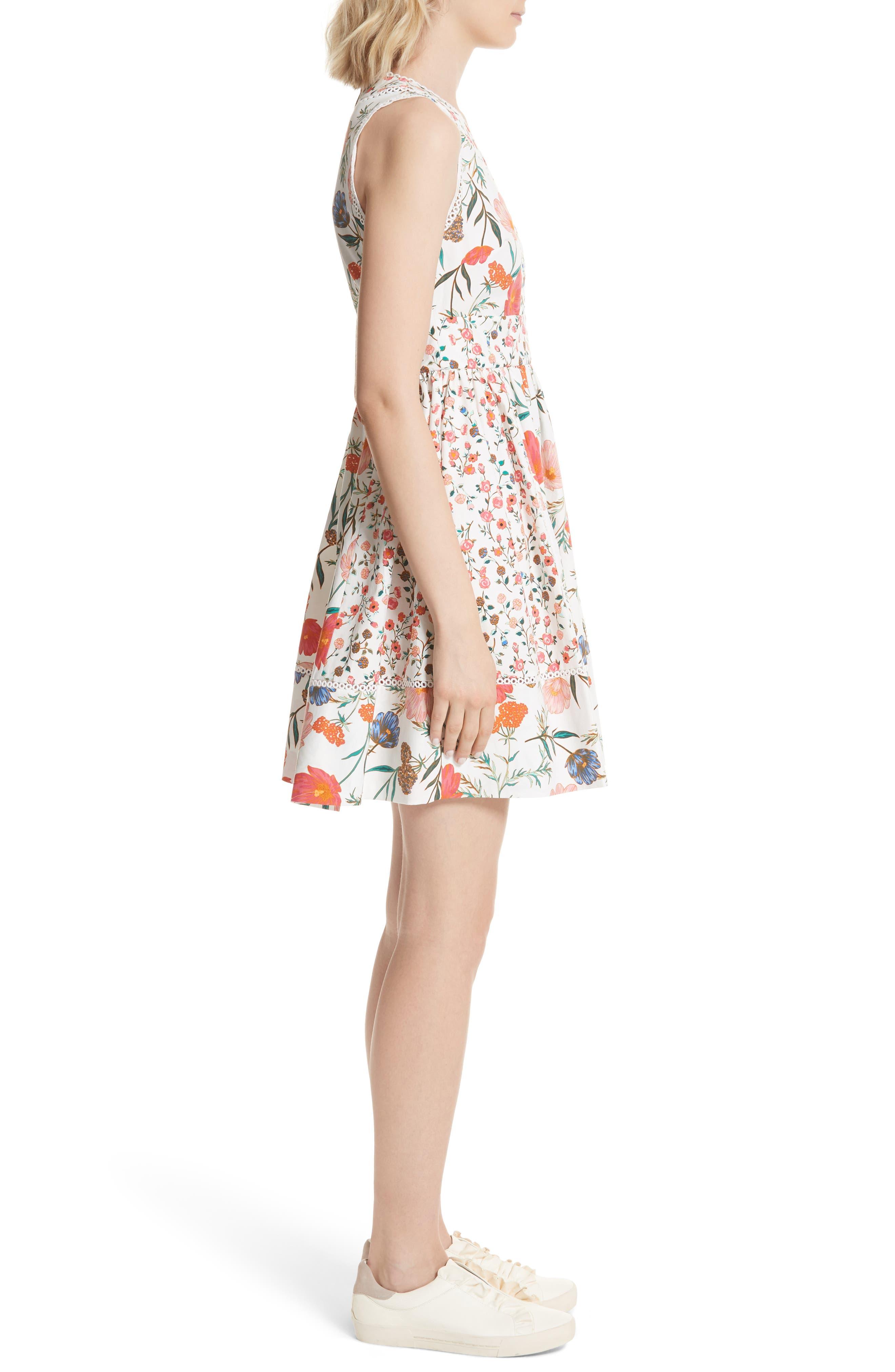 blossom sleeveless fit & flare dress,                             Alternate thumbnail 3, color,                             Cream