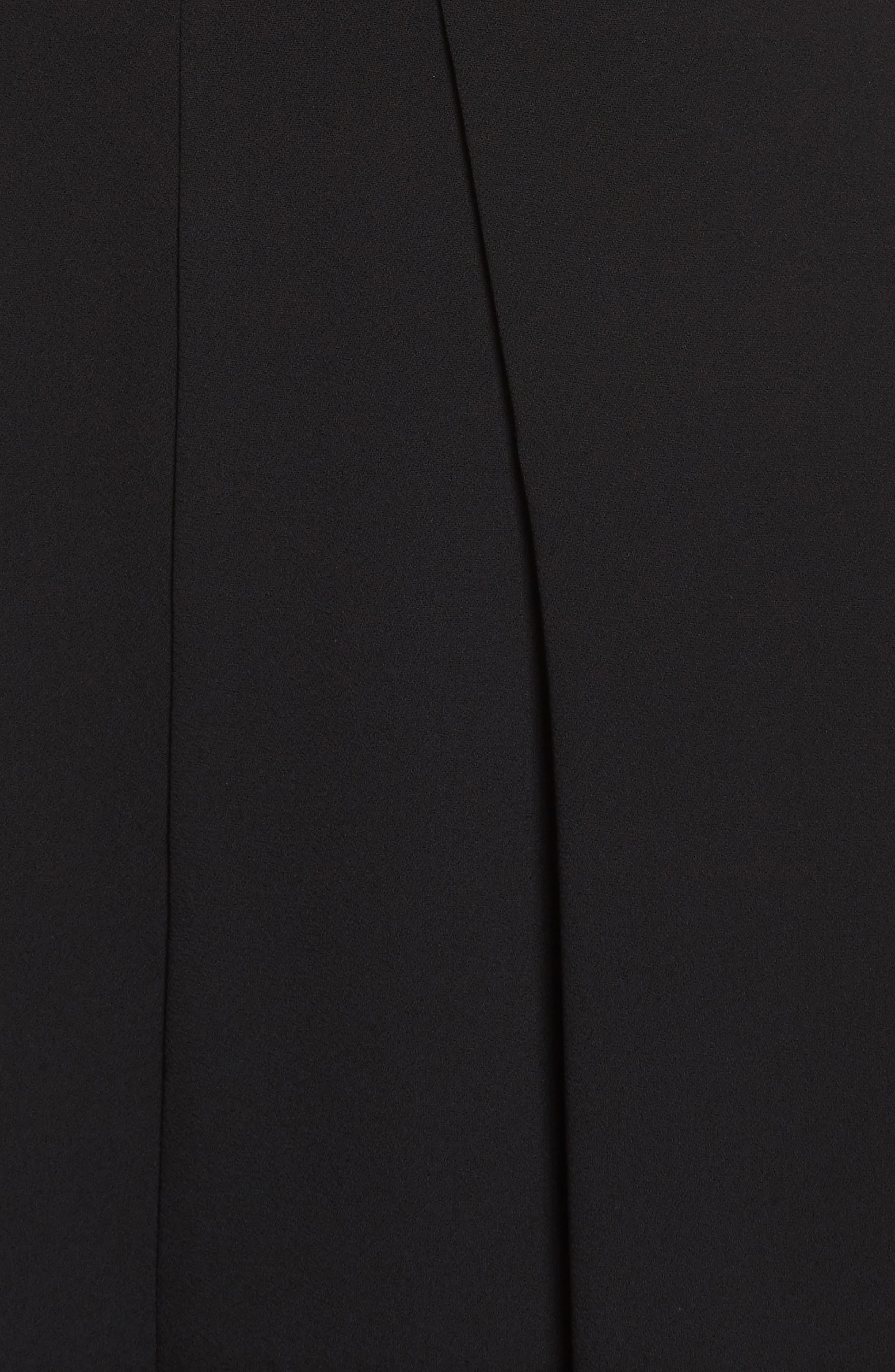 Crepe Wrap Bodice Jumpsuit,                             Alternate thumbnail 5, color,                             Black