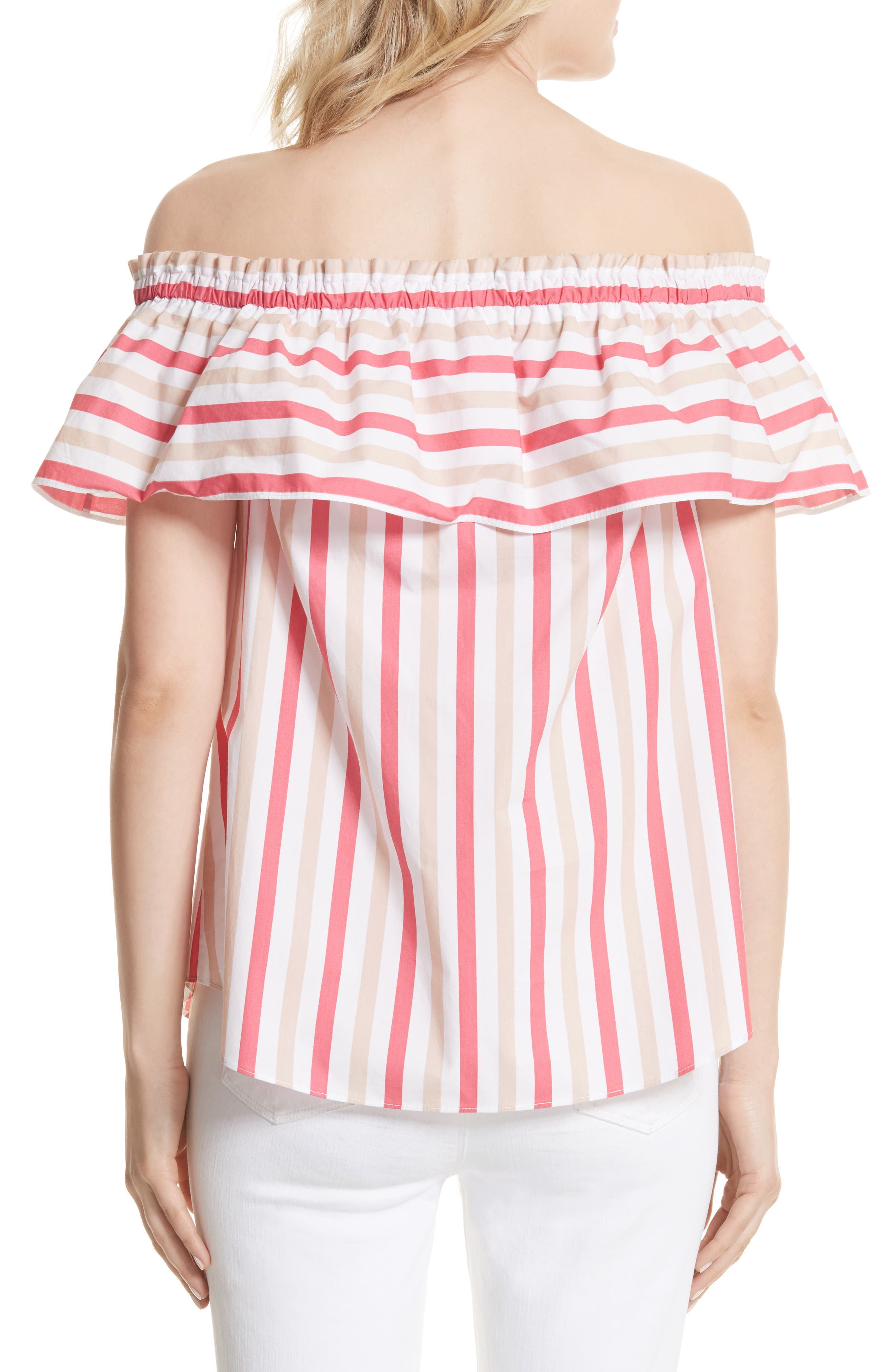 off the shoulder stripe top,                             Alternate thumbnail 2, color,                             Peach Sherbet