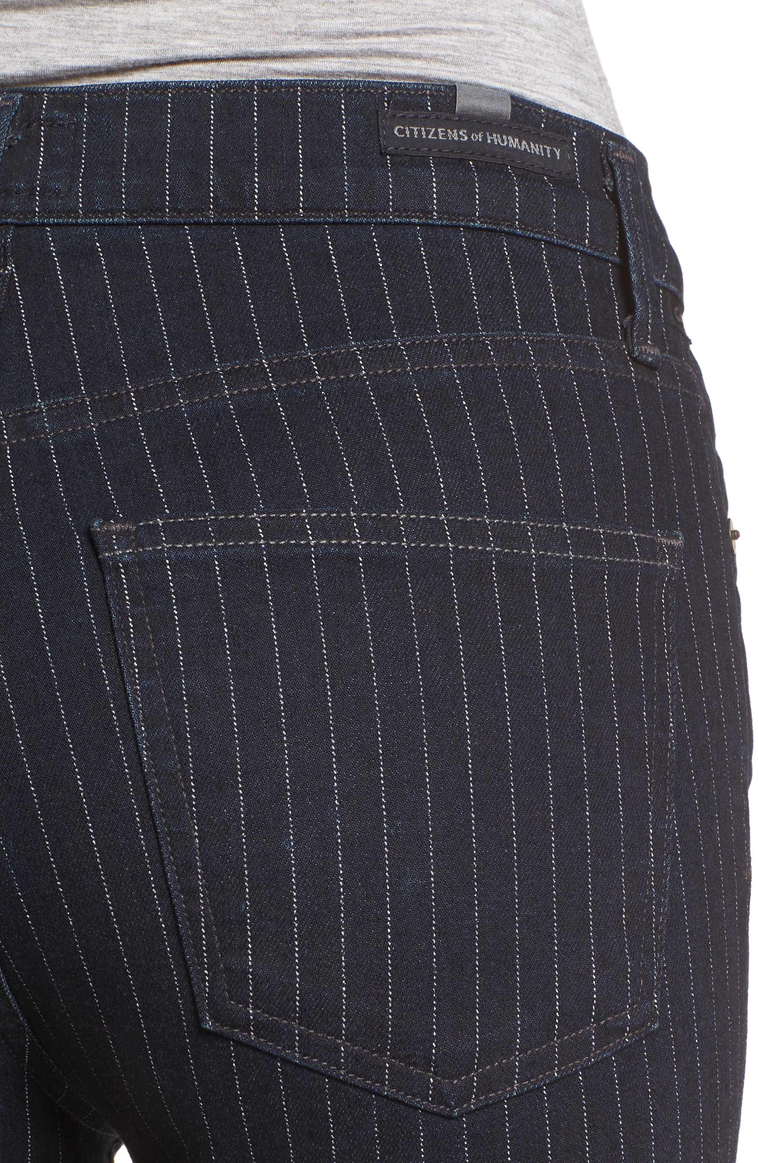 Rocket High Waist Crop Skinny Jeans,                             Alternate thumbnail 4, color,                             Pinstripe
