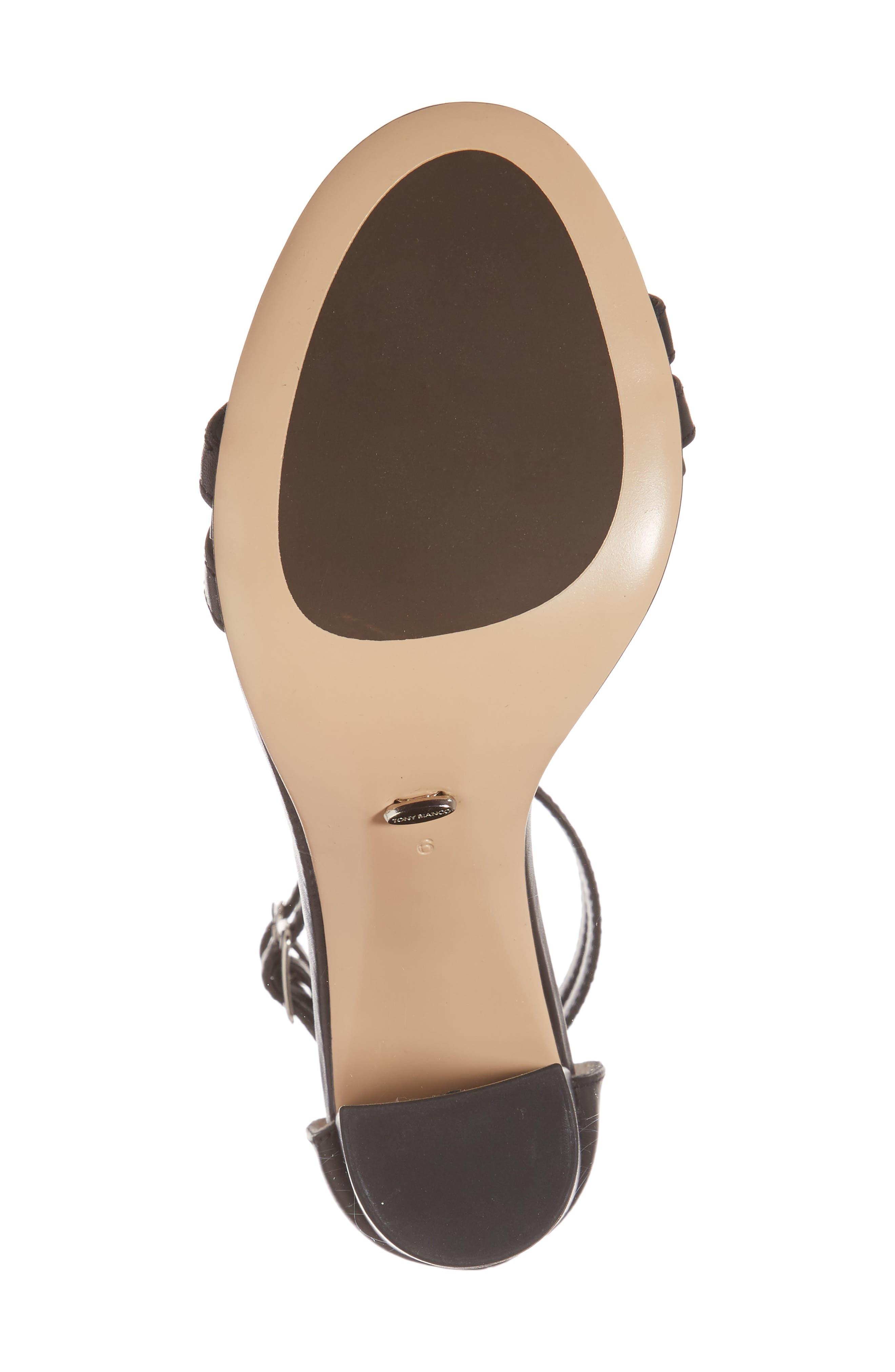 Kelly Block Heel Sandal,                             Alternate thumbnail 6, color,                             Black Monaco Leather