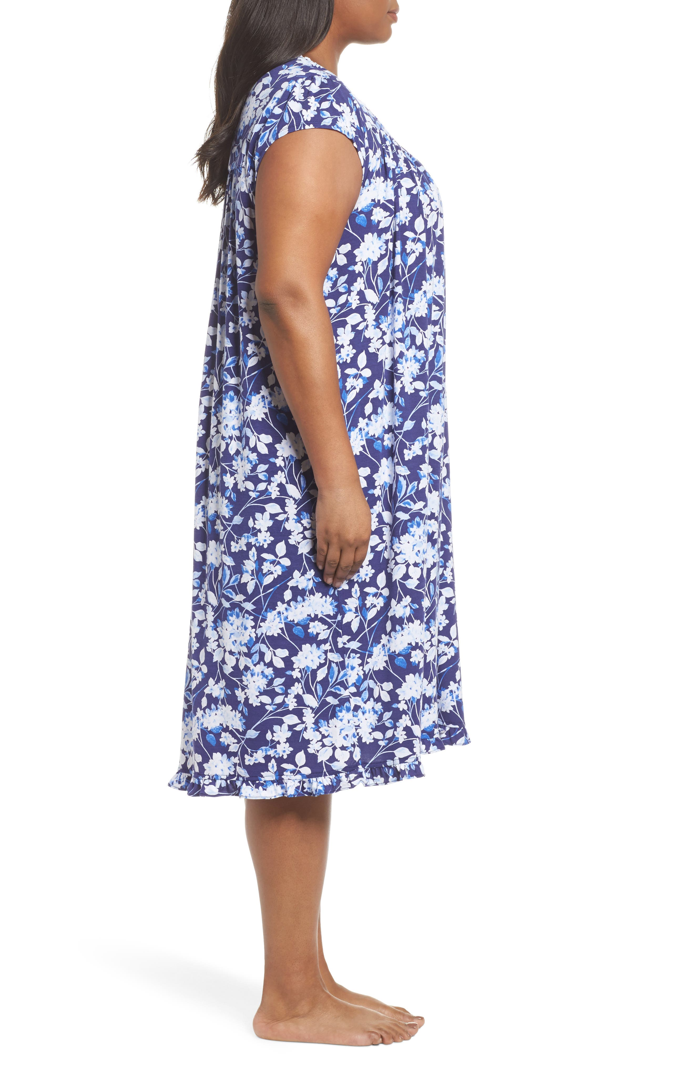 Modal Jersey Waltz Nightgown,                             Alternate thumbnail 3, color,                             Blue Multi Floral