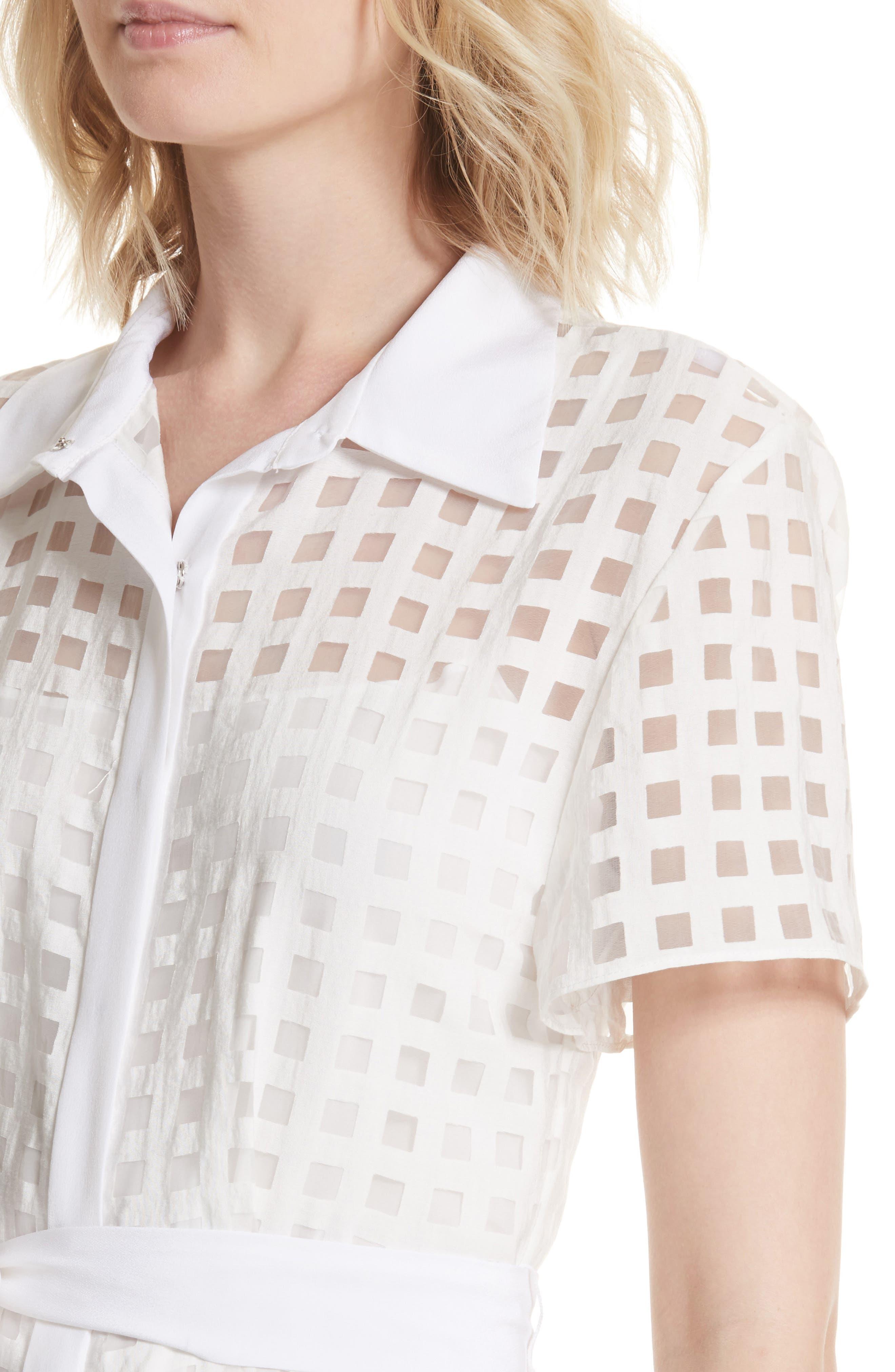 Haley Window Check Shirtdress,                             Alternate thumbnail 4, color,                             White