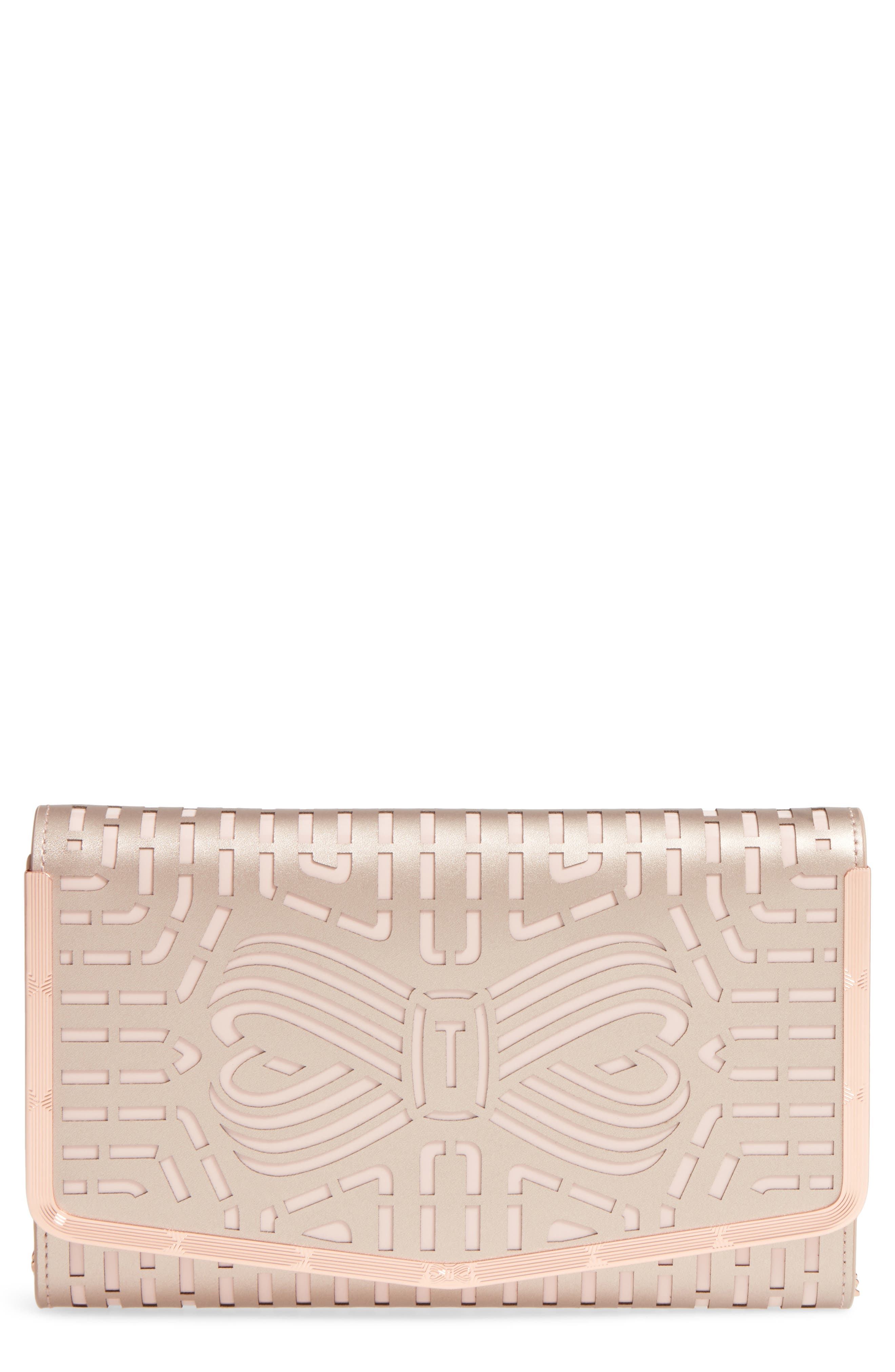 Bree Laser Cut Bow Leather Clutch,                             Main thumbnail 1, color,                             Rose Gold