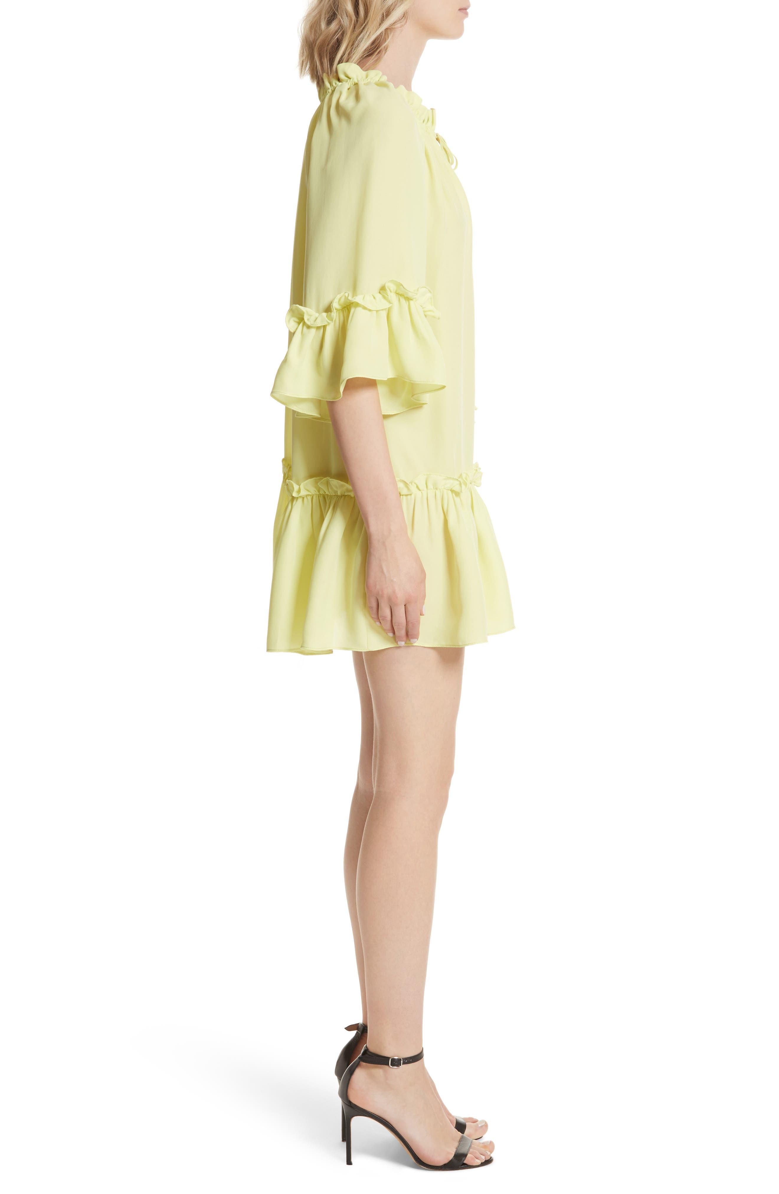 Santorini Ruffle Mini Dress,                             Alternate thumbnail 3, color,                             Lemon Yellow
