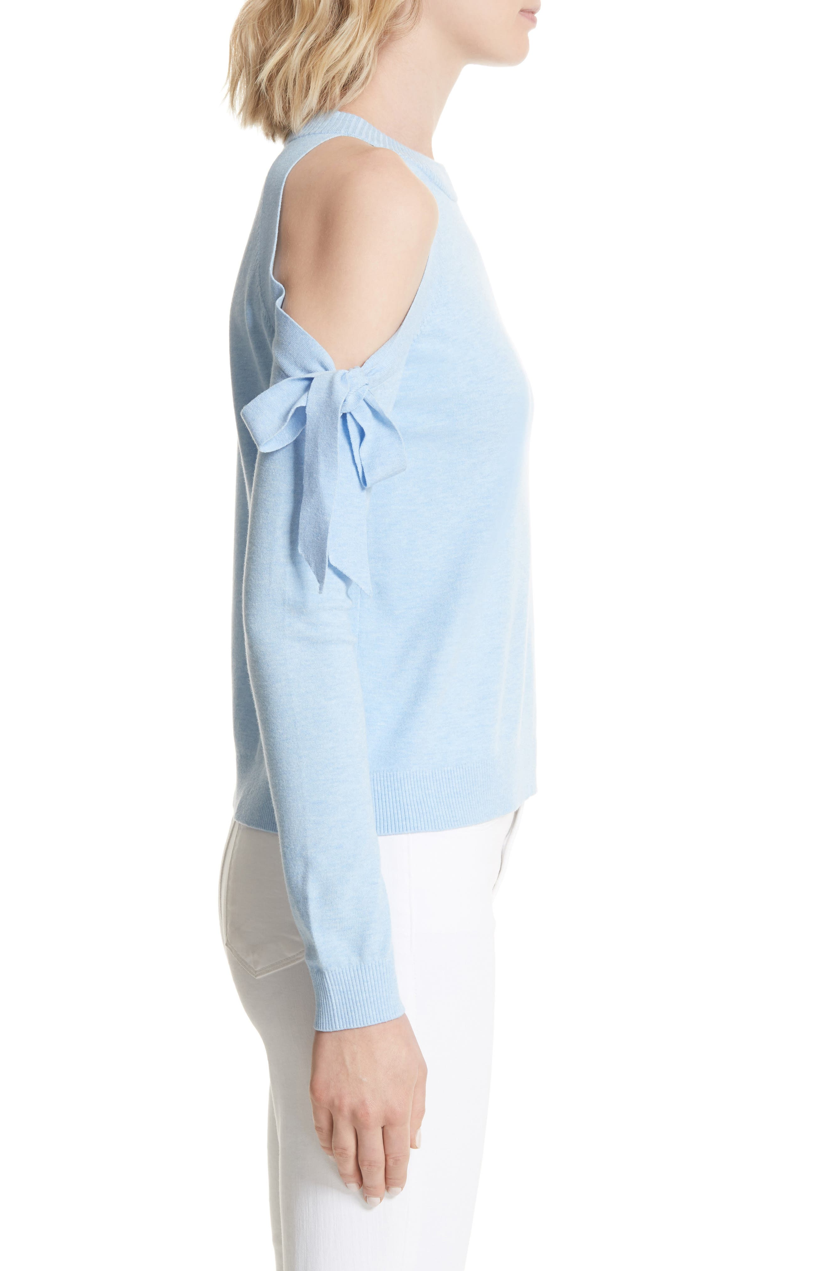 Cold Shoulder Tie Sleeve Sweater,                             Alternate thumbnail 3, color,                             Chambray