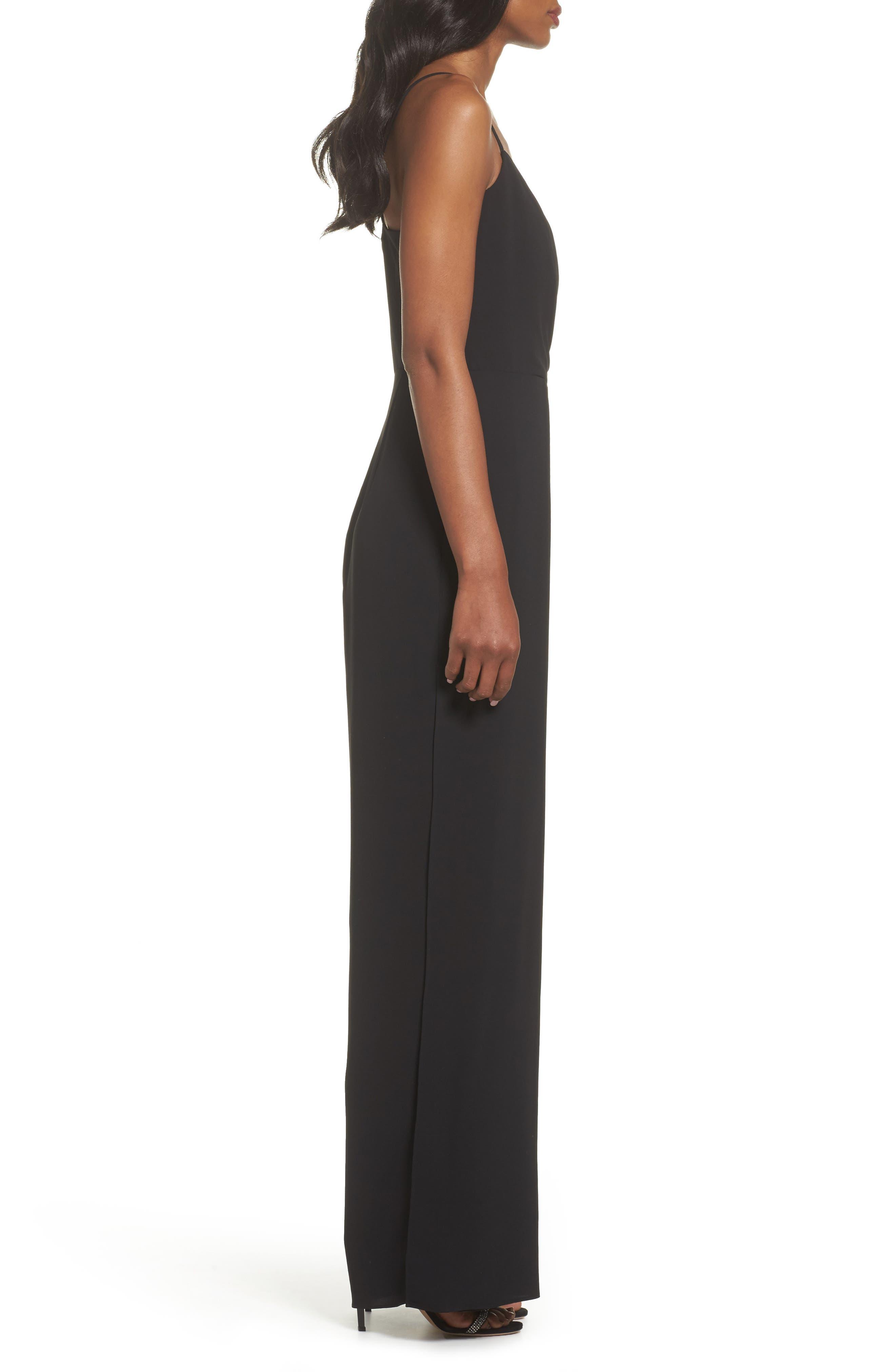 Crepe Wrap Bodice Jumpsuit,                             Alternate thumbnail 3, color,                             Black