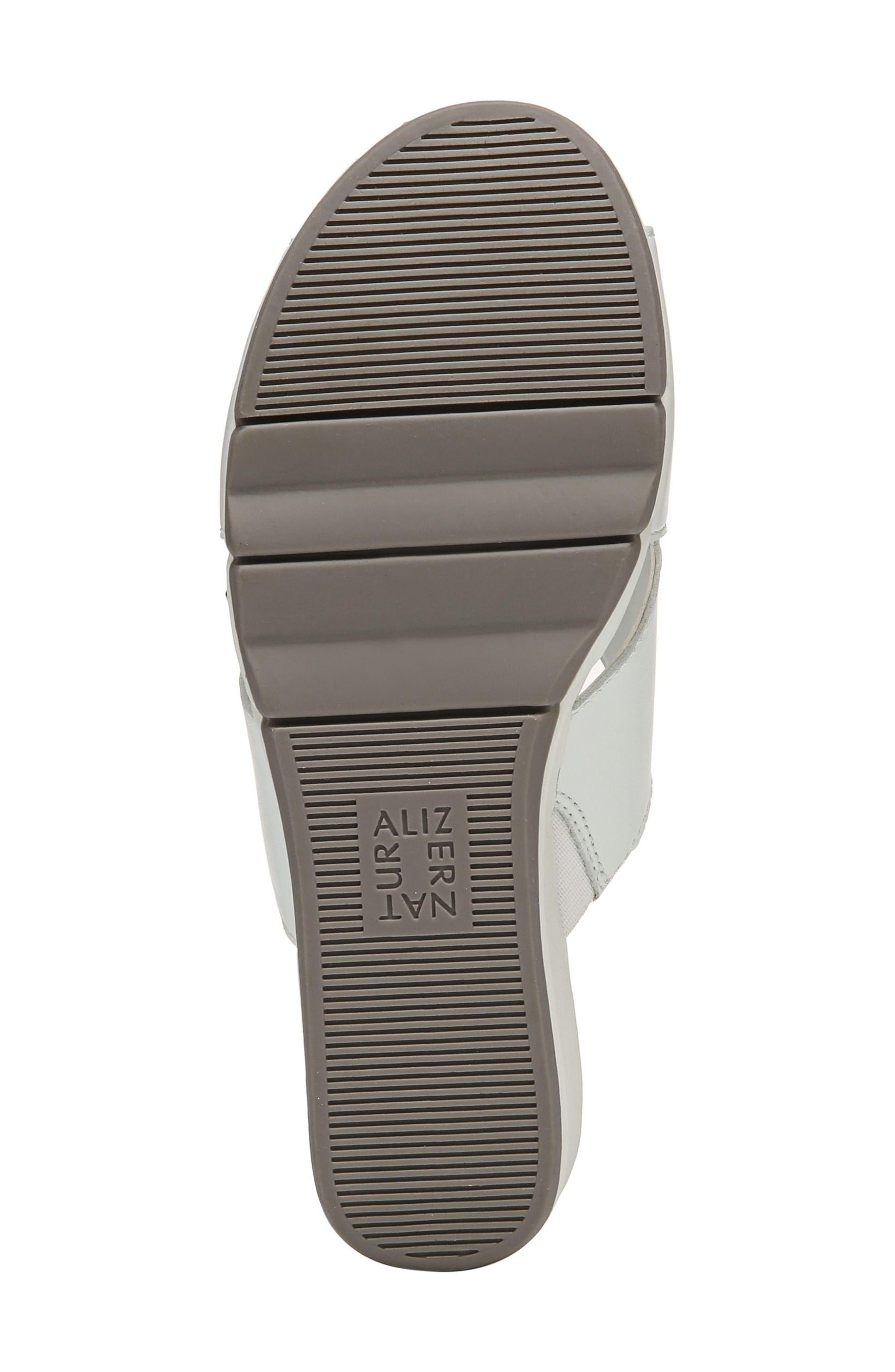 Izzy Wedge Sandal,                             Alternate thumbnail 4, color,                             White Leather