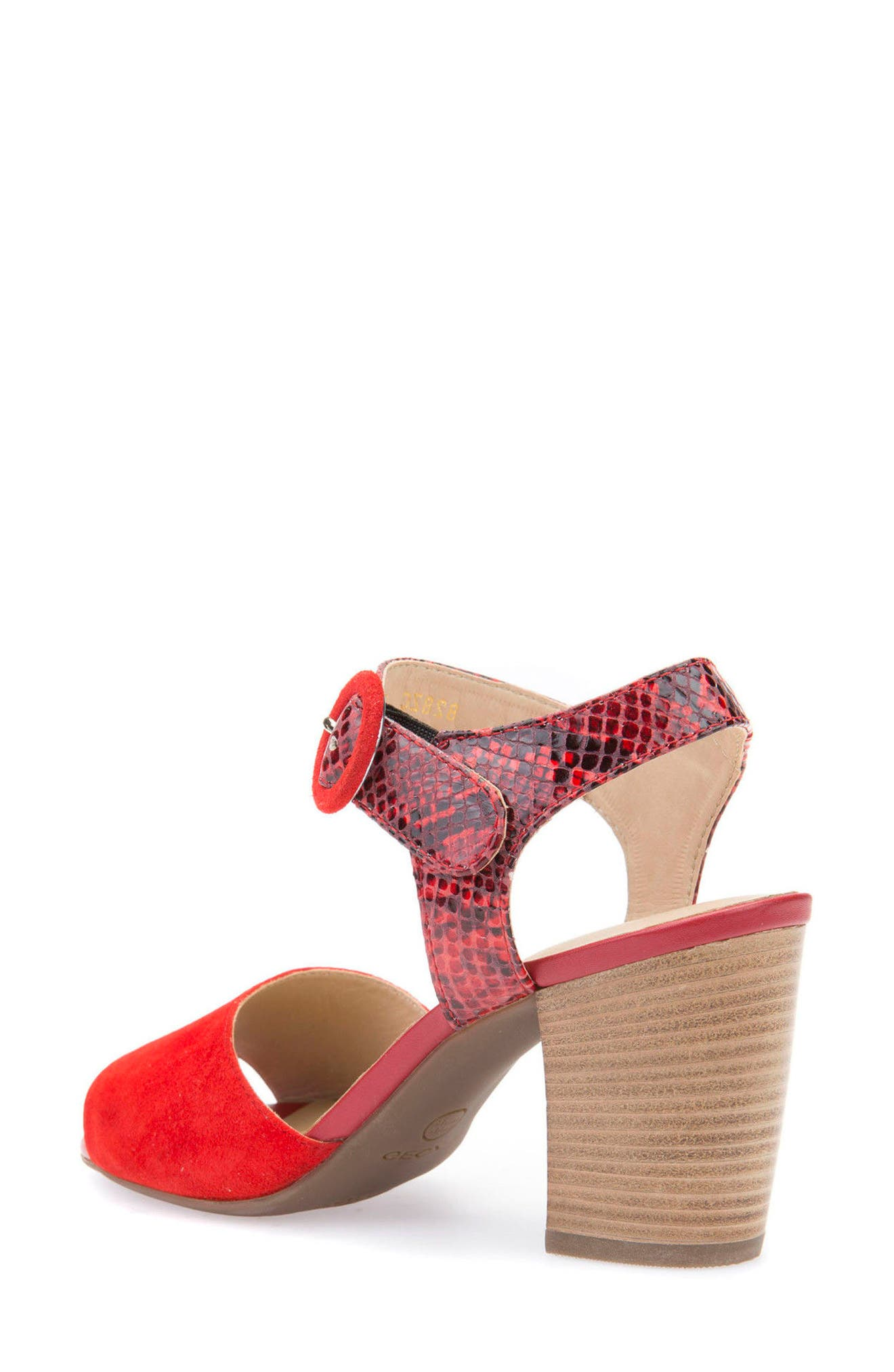 Eudora Block Heel Sandal,                             Alternate thumbnail 2, color,                             Scarlet Suede