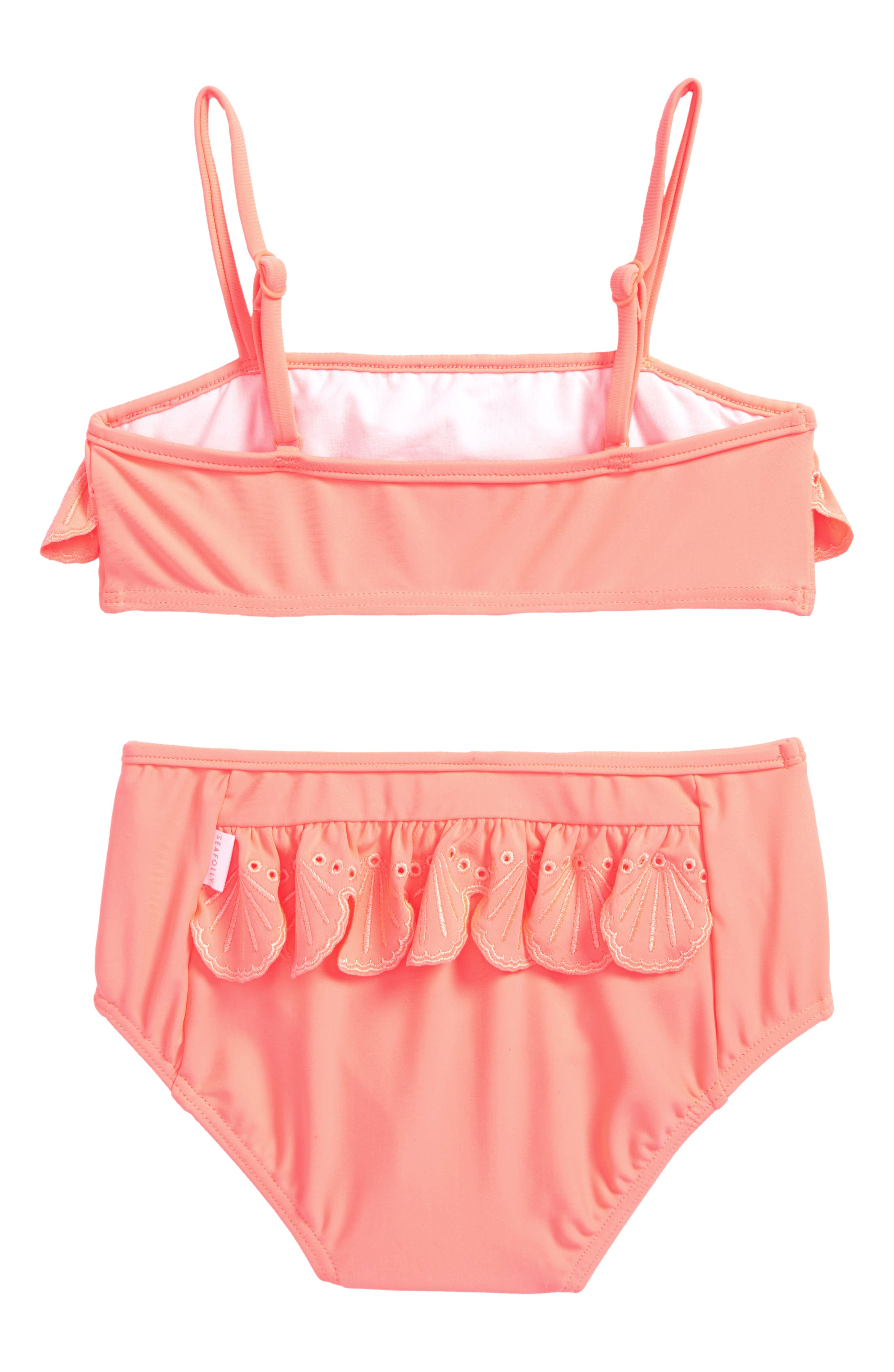 Sweet Summer Frill Two-Piece Swimsuit,                             Alternate thumbnail 2, color,                             Fusion Coral