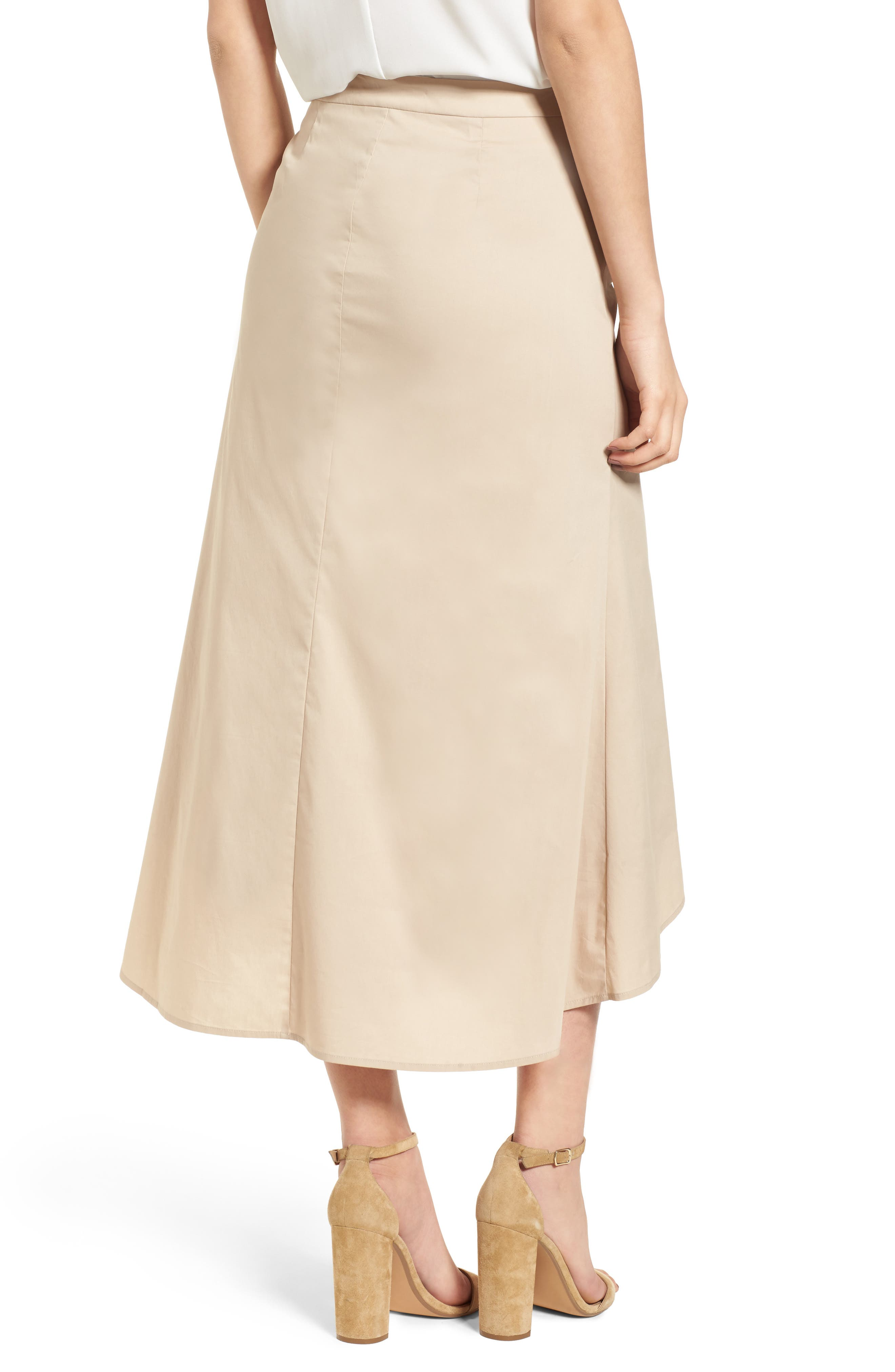 Ruched Front Midi Skirt,                             Alternate thumbnail 3, color,                             Tan Oxford